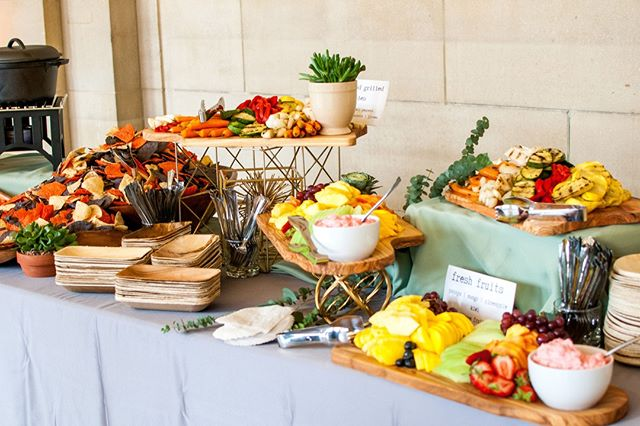 Wedding catering in the summer means fresh fruit and color aplenty! We love to work with our couples to find the perfect wedding day menu that fits their unique personality, diet, and most importantly, includes the food they love the most! . . . . What is your dream wedding menu? Ours would start with this lovely spread from @atasteofexcellence!  . . Photo: @jodijhutton . #ClevelandWedding #Cleveland #CleWedding #ClevlandWeddingPlanner #AkronWedding #AkronWeddingPlanner #AkronBride #OhioWedding #OhioBride #OhioWeddingPlanner #weddingplanner #bridetobe #weddinginspo #weddinginspiration #beinspired #fallinlove #ecofriendlywedding #weddingideas #earthfriendly #sustainability #ecofriendlybrides  #oakandhoneyevents #oakandhoneyeventplanningco  #weddingfood #weddingcatering #reception #receptiondesign #receptioninspo #foodie #weddingplacesetting