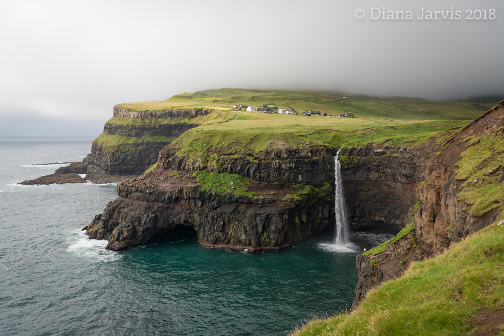 Mulafossur waterfall in the village of Gasadalur, Faroe Islands
