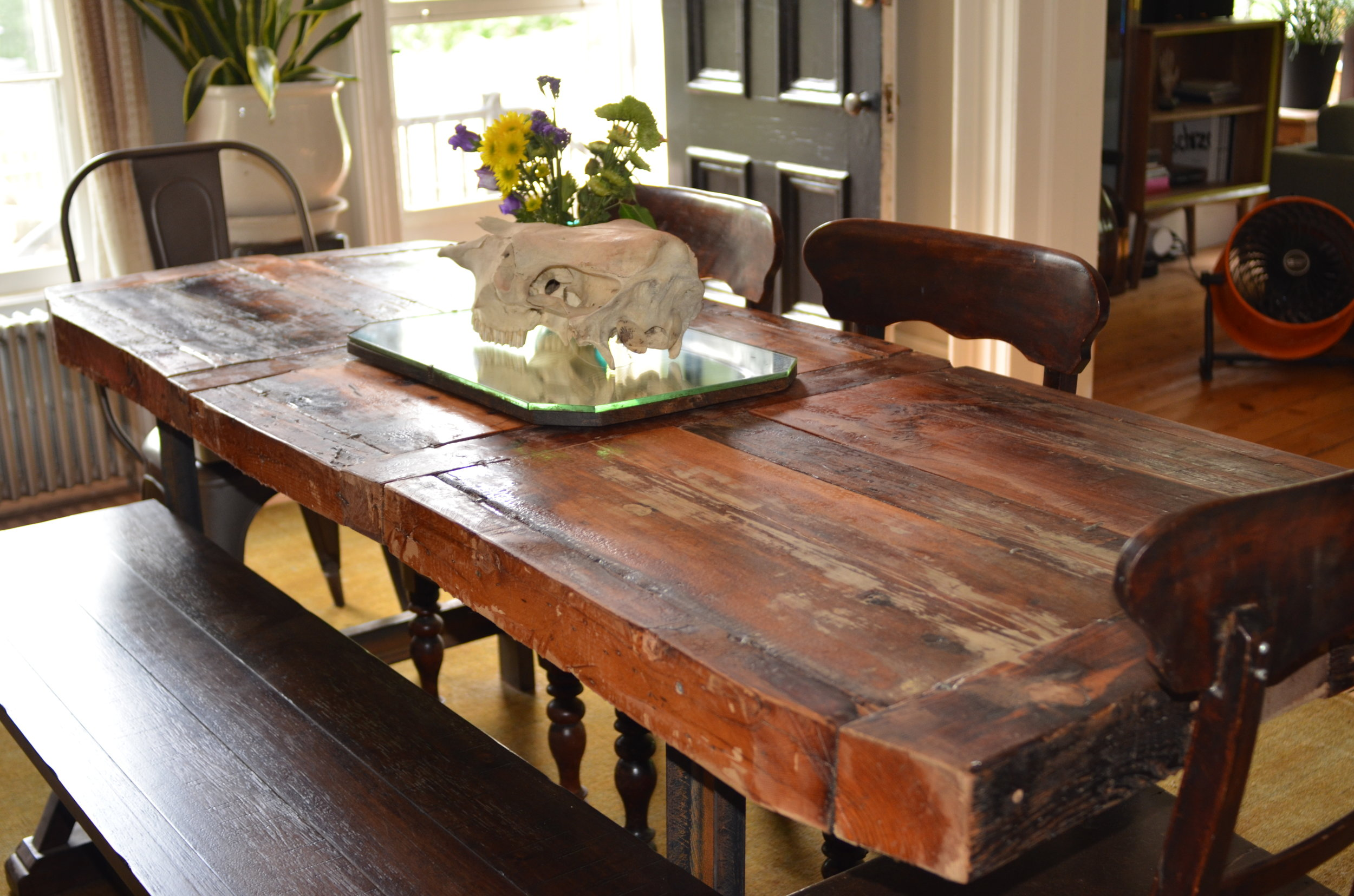 RECLAIMED WOOD DINING TABLE, HAND SANDED AND STAINED