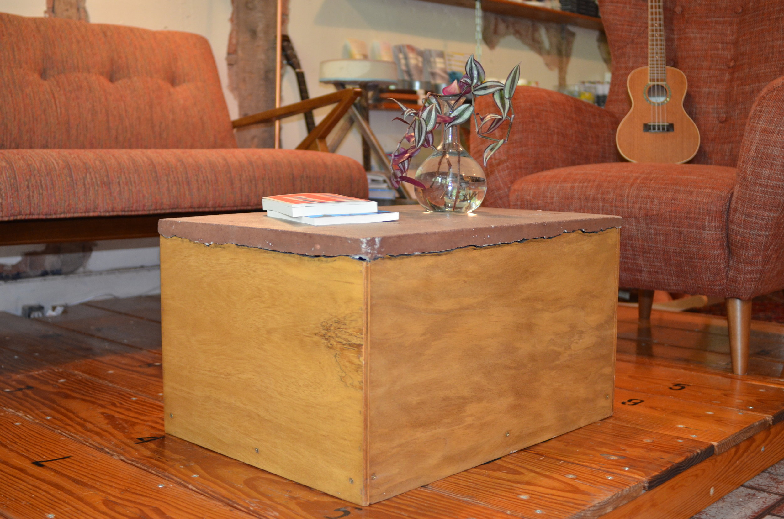 UPCYCLED WOOD AND STAINED CONCRETE COFFEE TABLE
