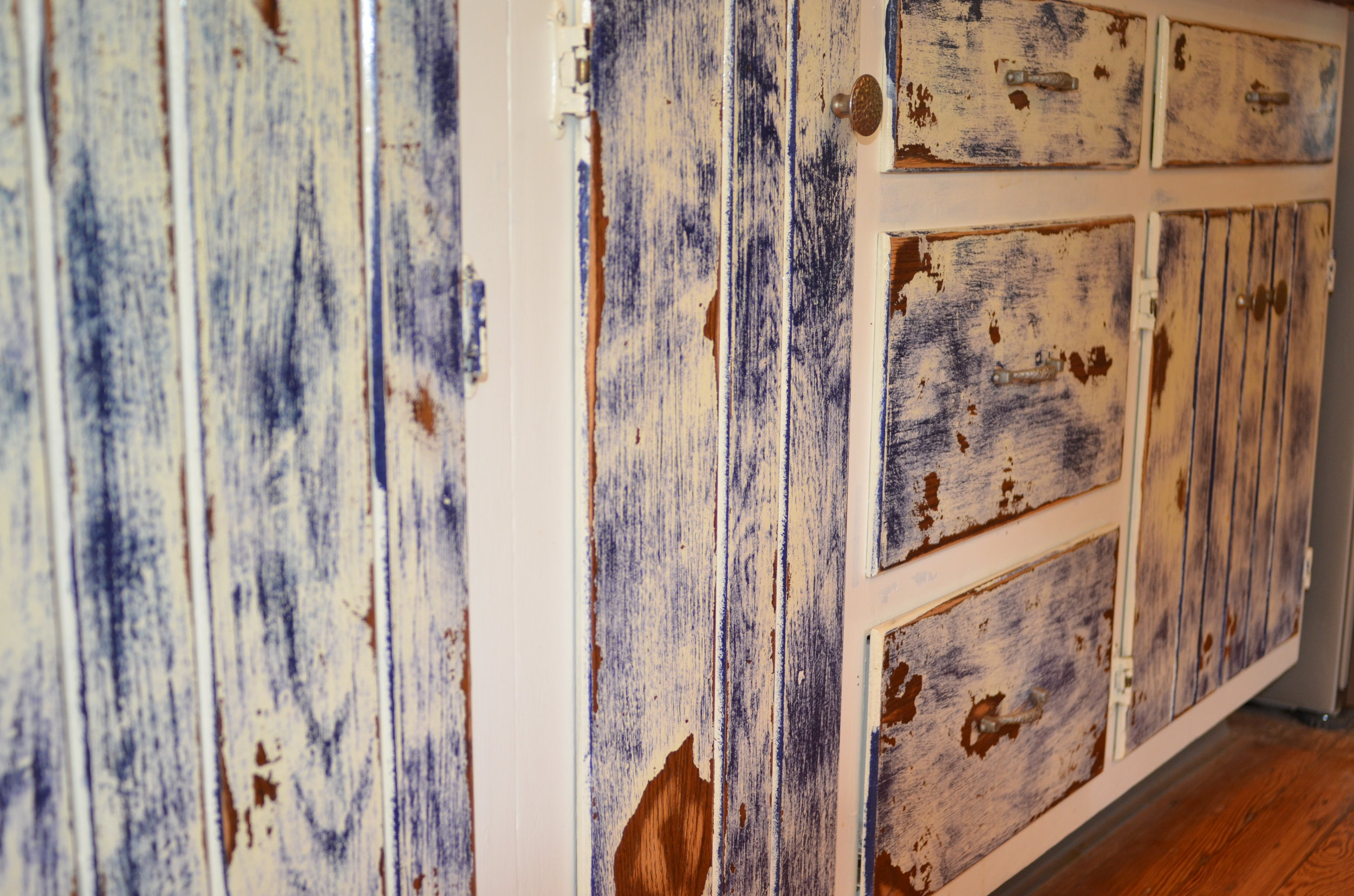 HAND PAINTED CUSTOM DISTRESSED KITCHEN CABINETS