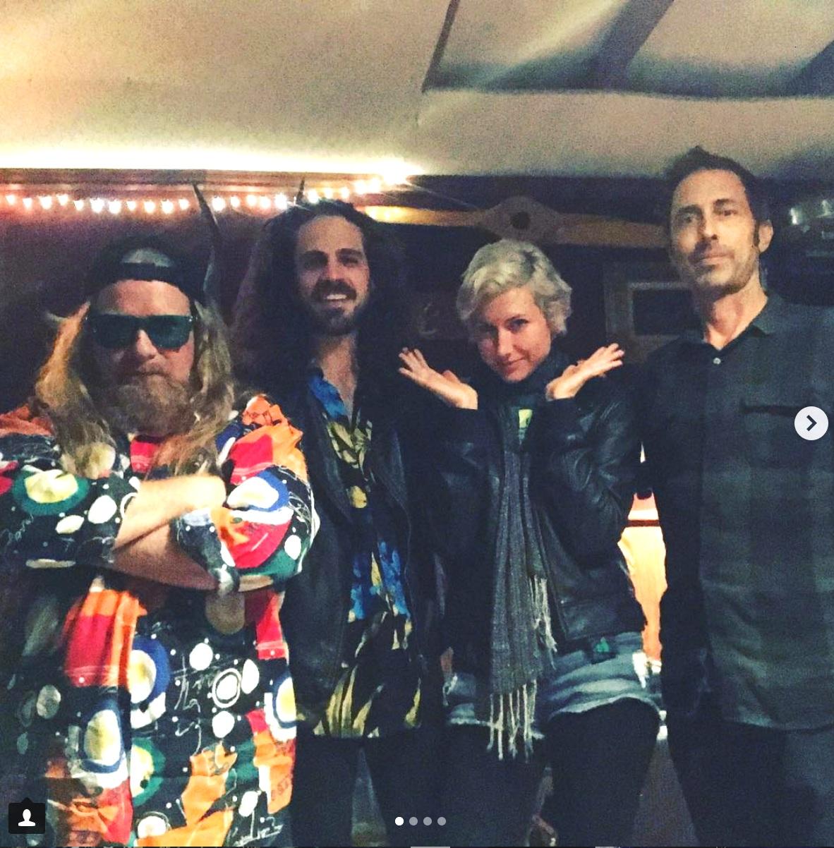 """Erick """"Jesus"""" Coombes (bass) on left, Vince Cuneo (guitar), Jessamyn Violet (drums), Matt Wignall (producer)"""