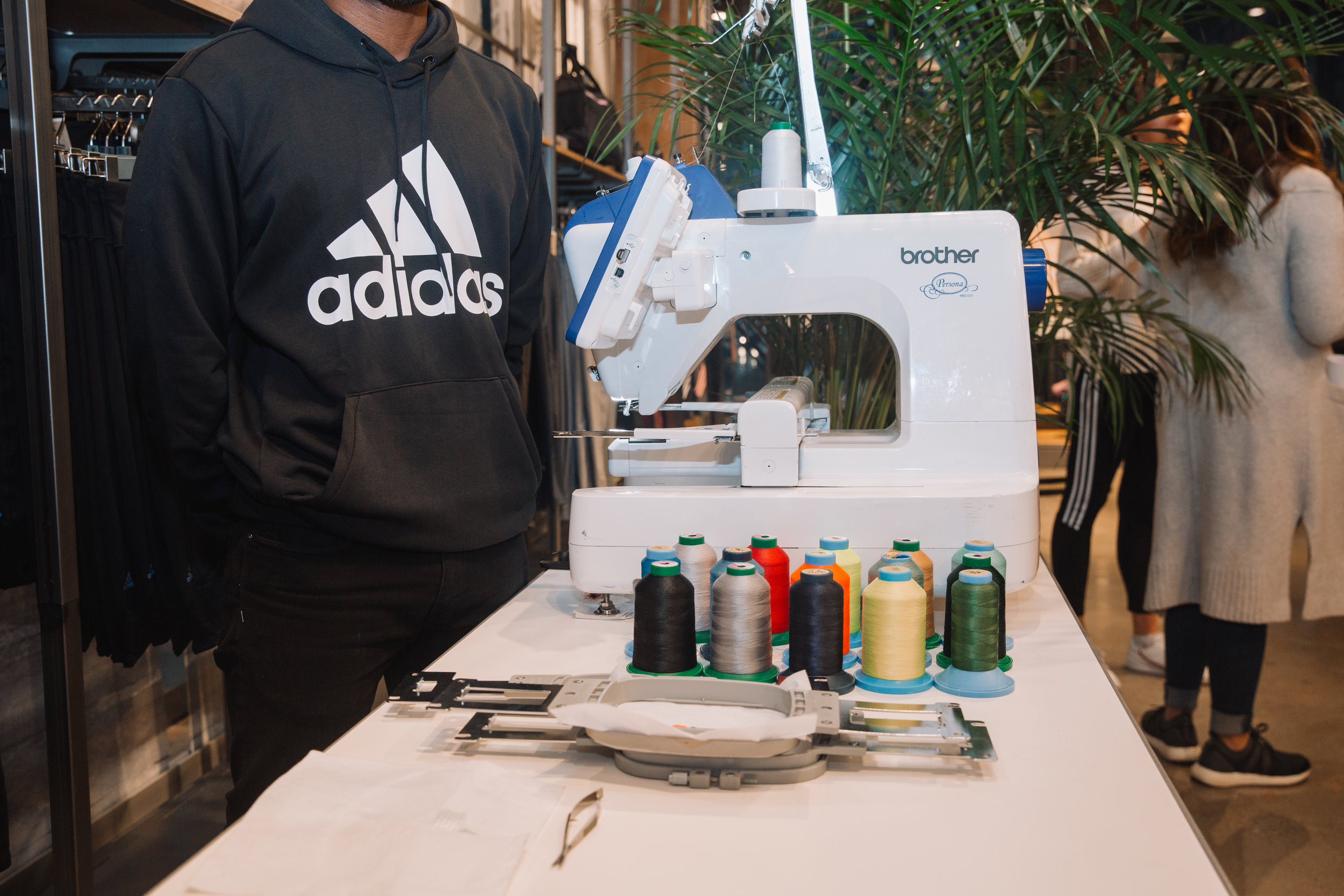 The Adidas team provided complimentary embroidery on any merchandise purchased at the event.
