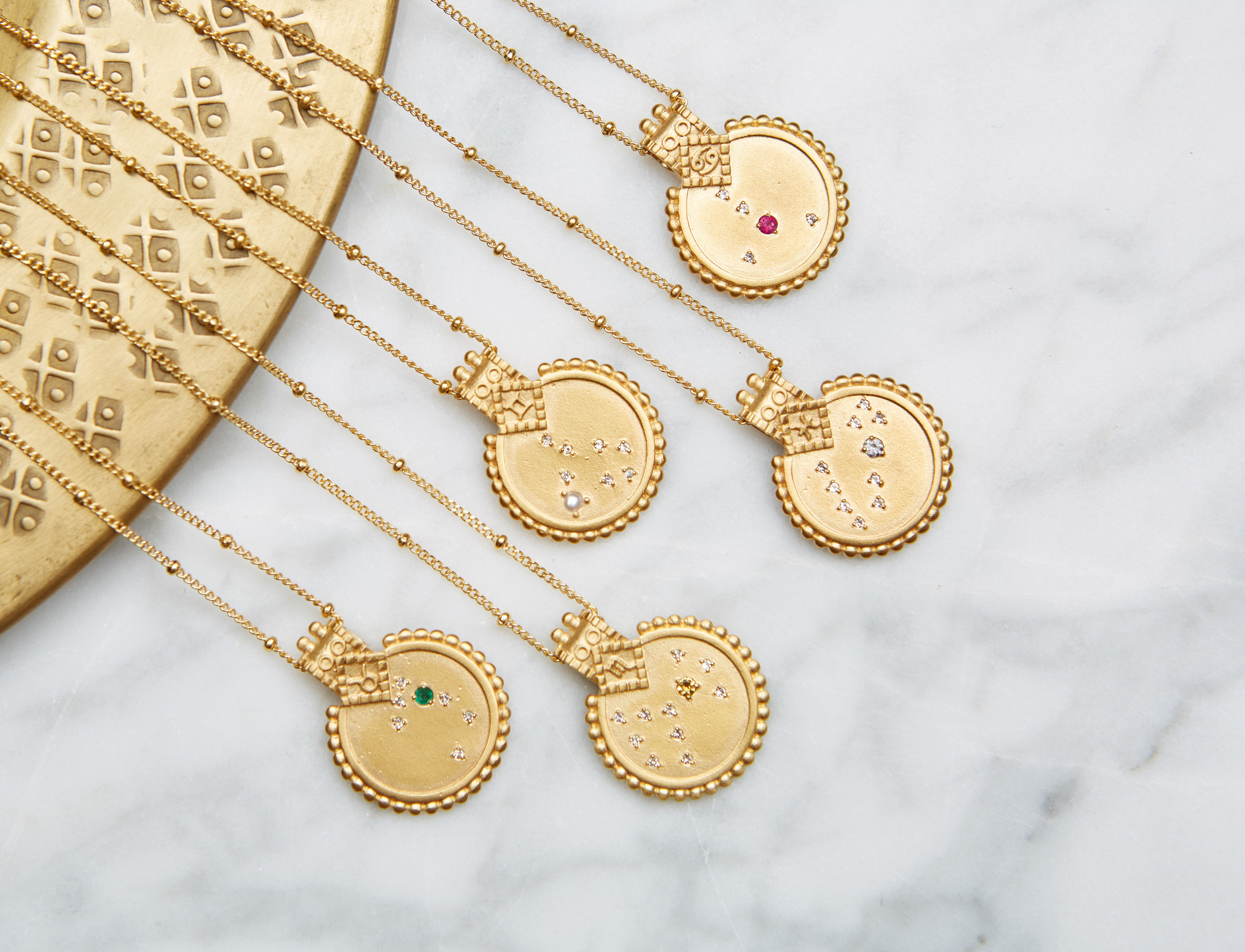 Pieces from the Satya Mandala Zodiac Collection. Each piece is beautiful and personal and perfect for Mother's Day which is right around the corner! They're available now on the Satya website, so go take a look!