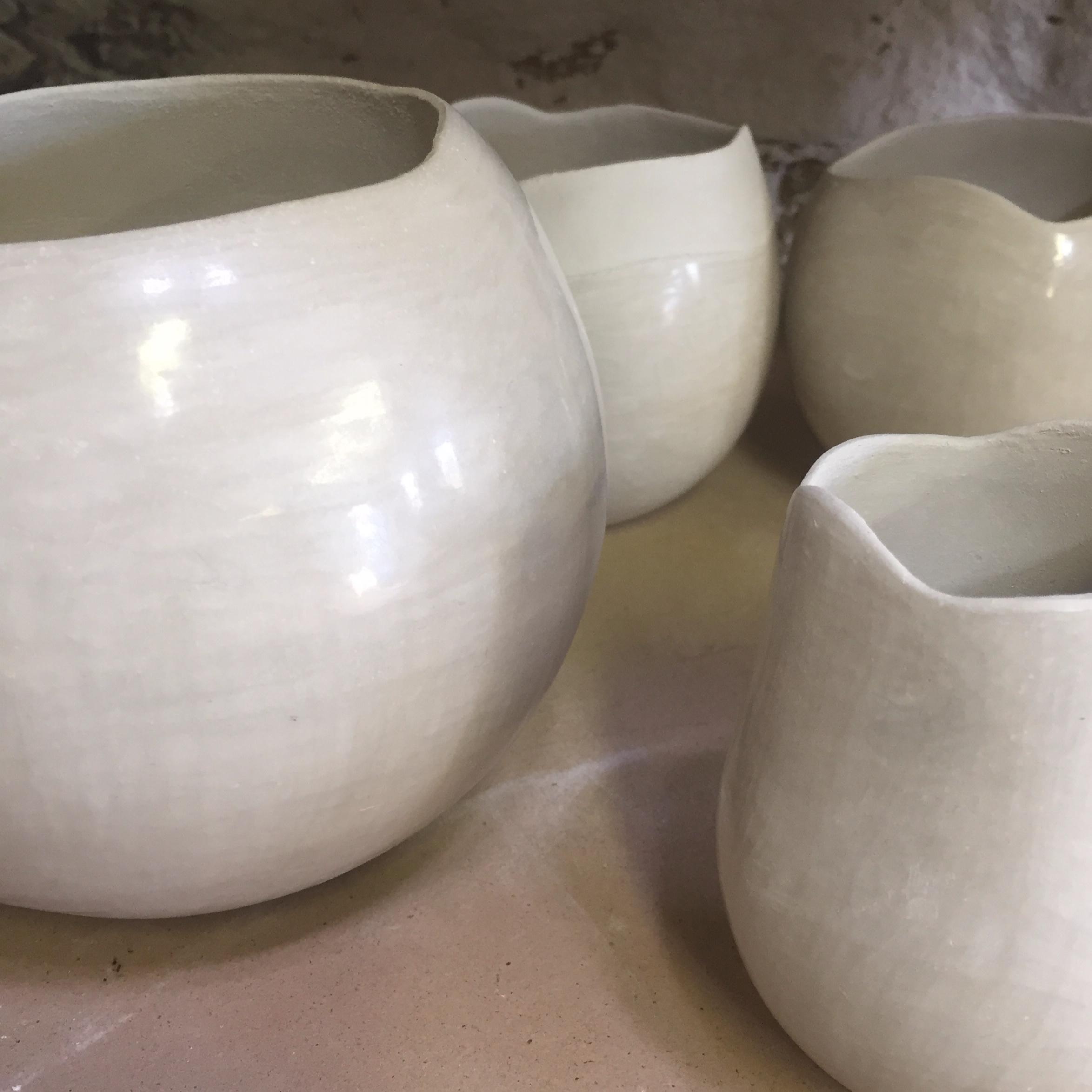 Coil built & burnished pots made with Ashraf Hanna Raku Clay