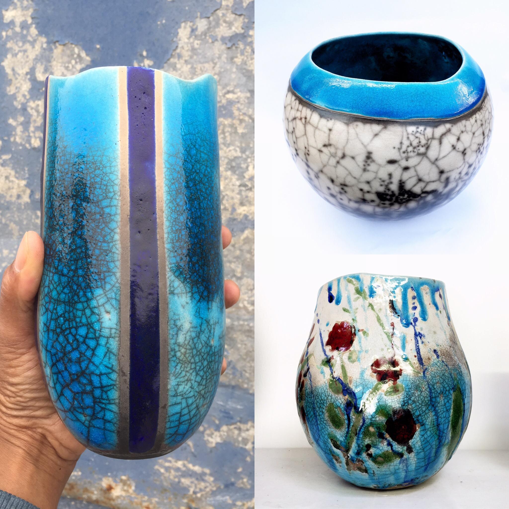 Raku Pots I've made using Ashraf Hanna Raku Clay