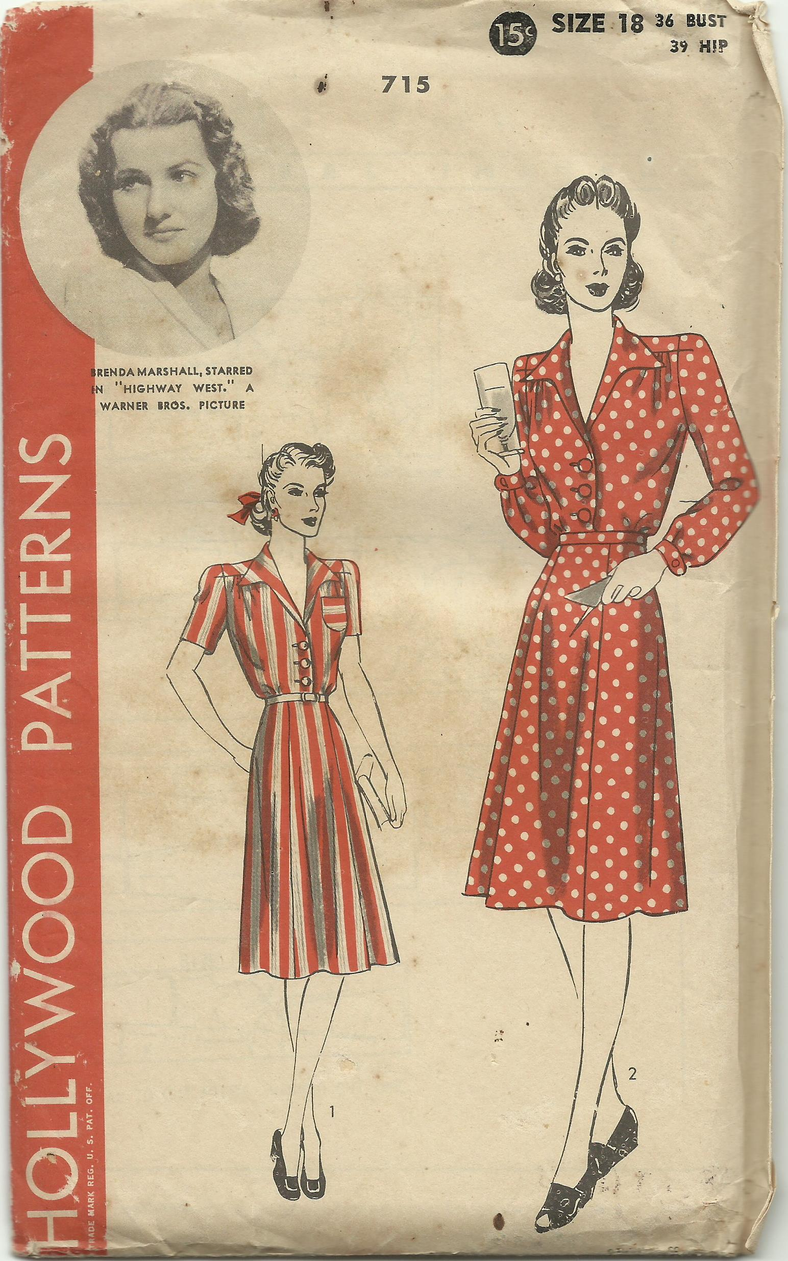 """""""Brenda Marshall"""" Hollywood Patterns 715 , The Hollywood Pattern Company, ca.1940s. Image courtesy of private collector."""