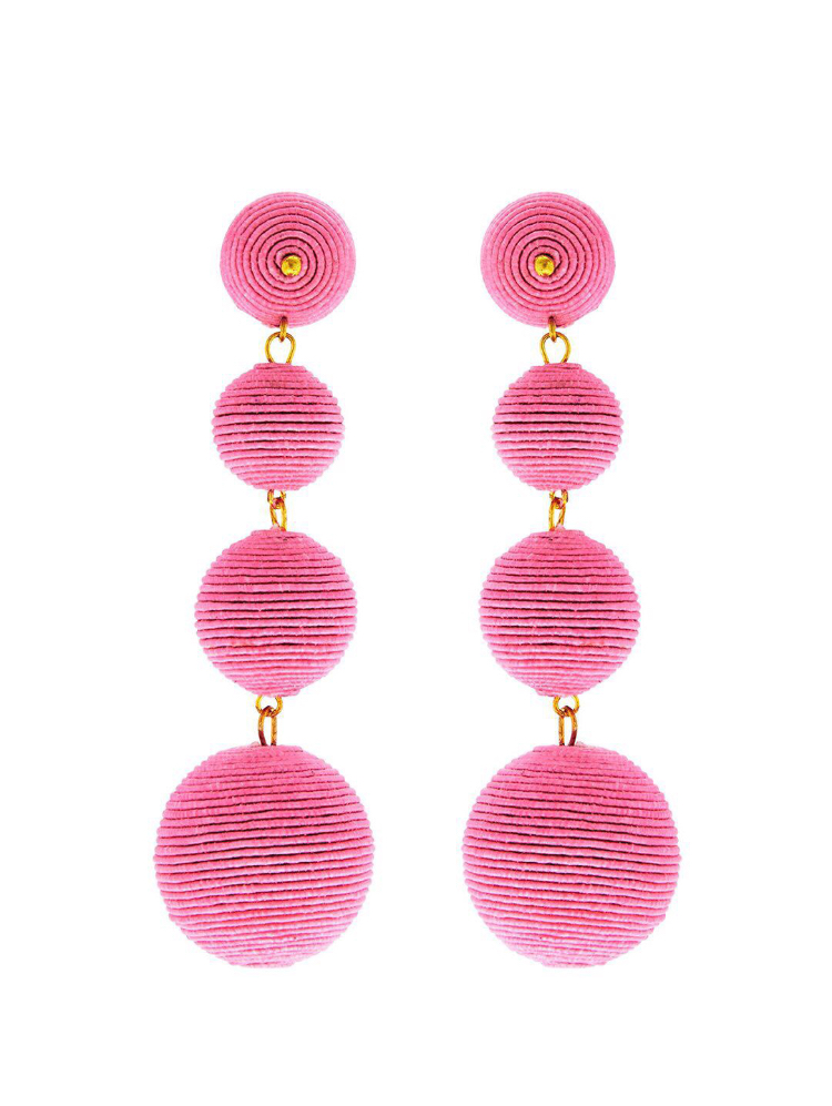 Pink Thread Wrapped Ball Pierced Earrings , Kenneth Jay Lane, 2018. Image courtesy of Kenneth Jay Lane