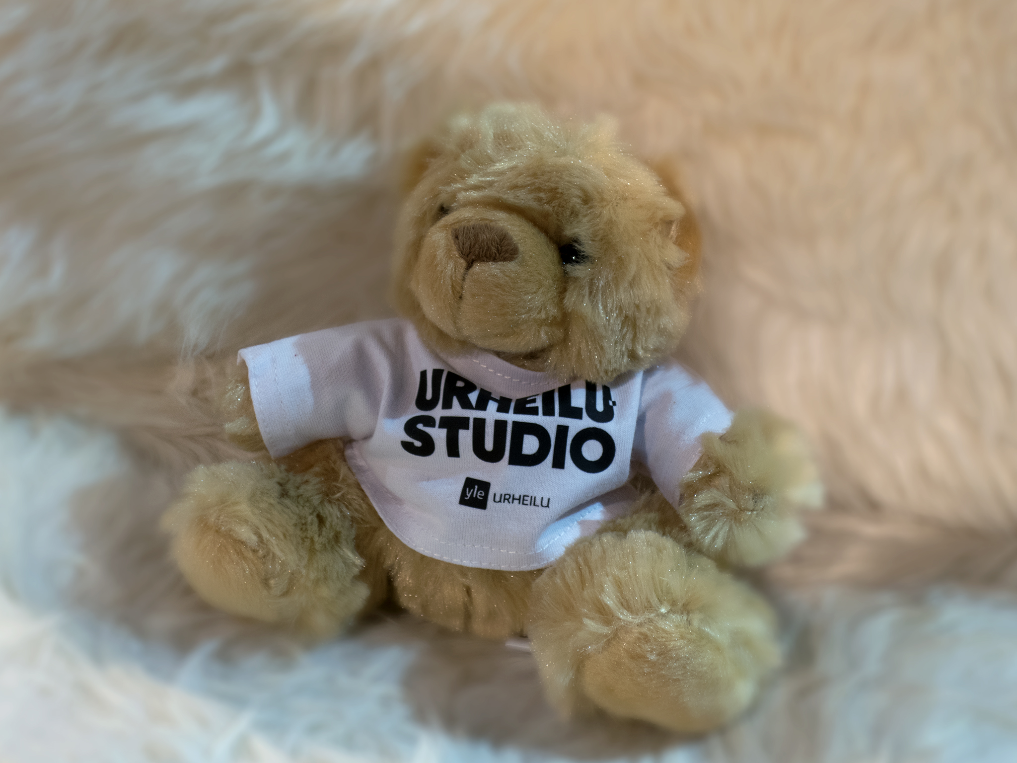 Branding for Yle Urheilustudio. Teddybear is used as prize for the audience contest during the program.