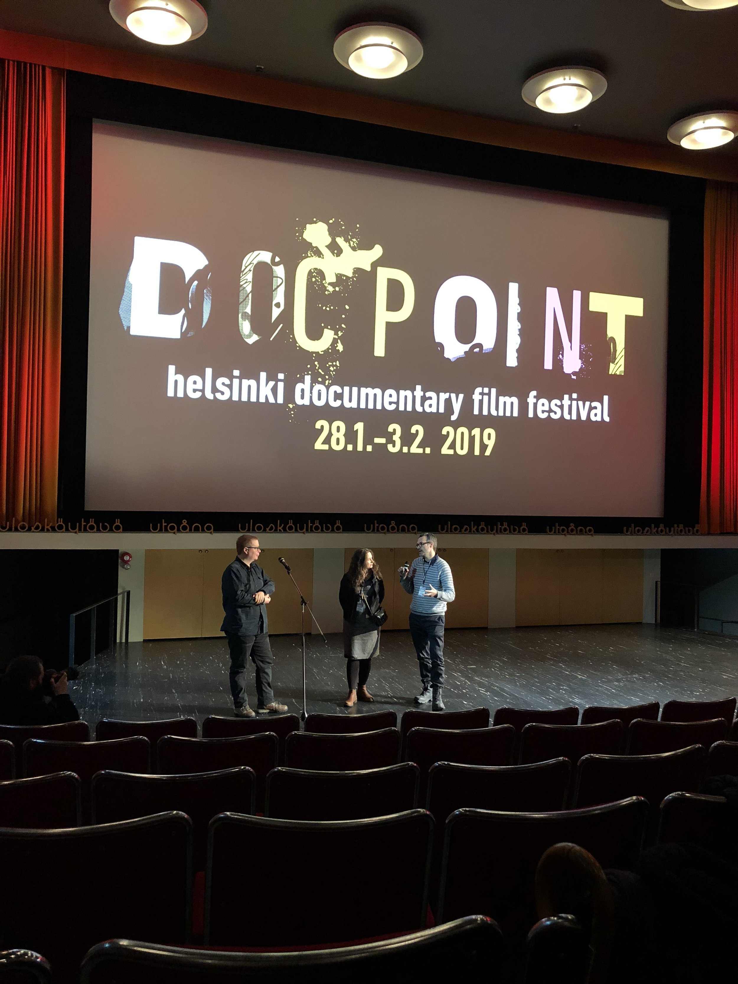 The Blackouts in Docpoint 2019 - Documentary directors Oliwia and Jerem Tonteri in Q&A event after the premiere in Bio Rex, Helsinki