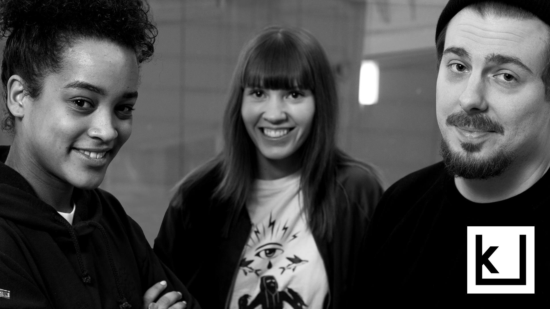 Can a feminist listen to hiphop? Photo for an interview with DJ, journalist and rap researcer Inka Rantakallio, DJ and rap artist Yeboyah and rap artist DJ Kridlokk. Hosted by Iida Rauhalammi.