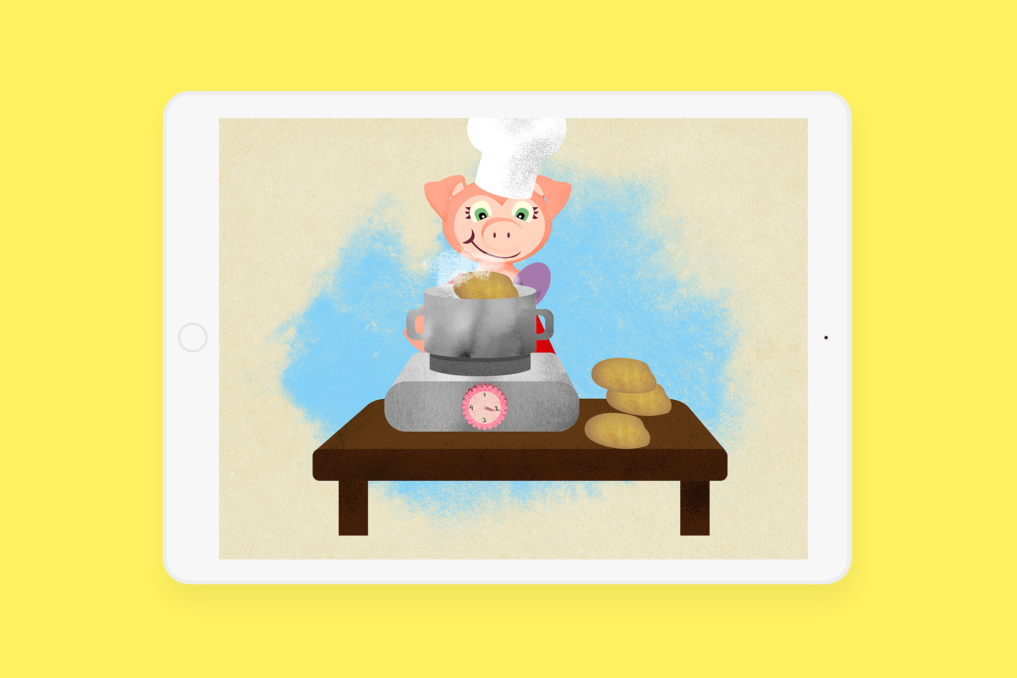 Illustration example for the animation scene in Bärtil's writing game. Here is Isa Gris cooking potatoes.