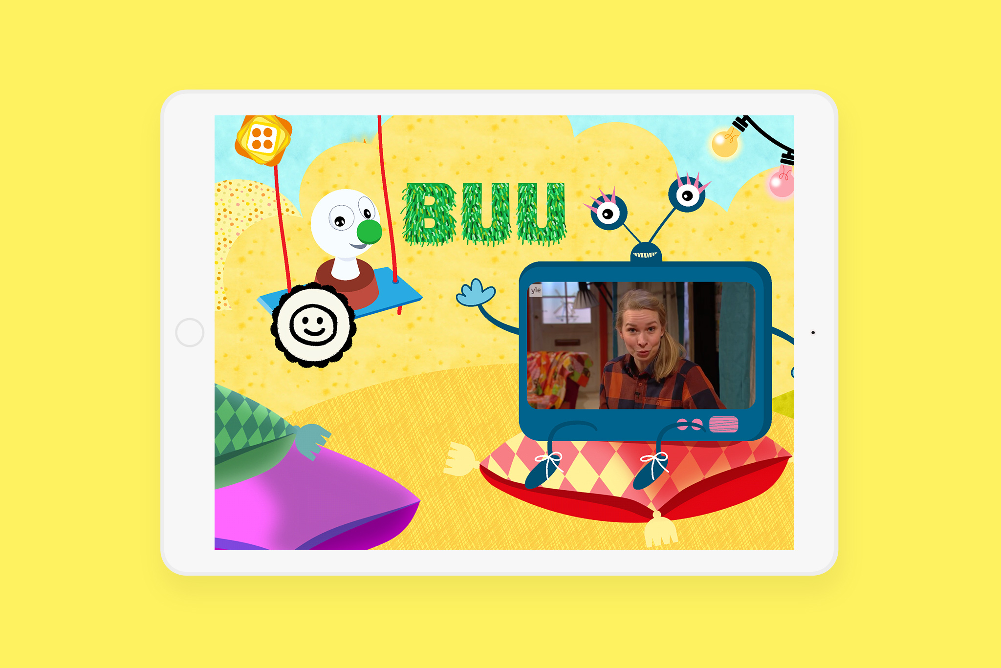 Host communicating with children through weekly or daily changing video streaming, for example a weekly question etc. The Buu App TV is an extension for the daily broadcasted TV show and additive communication channel.