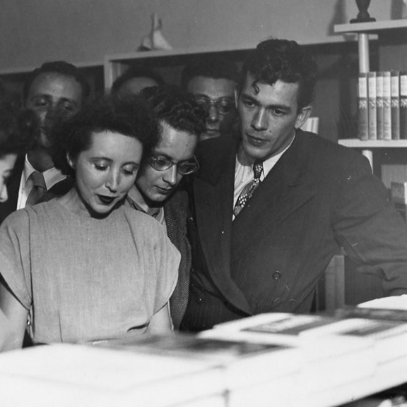 Anaïs Nin on New Year's Eve, 1946, at a book reading with the publisher and writer George Leite in Berkeley, CA. (Source: Wikimedia Commons)