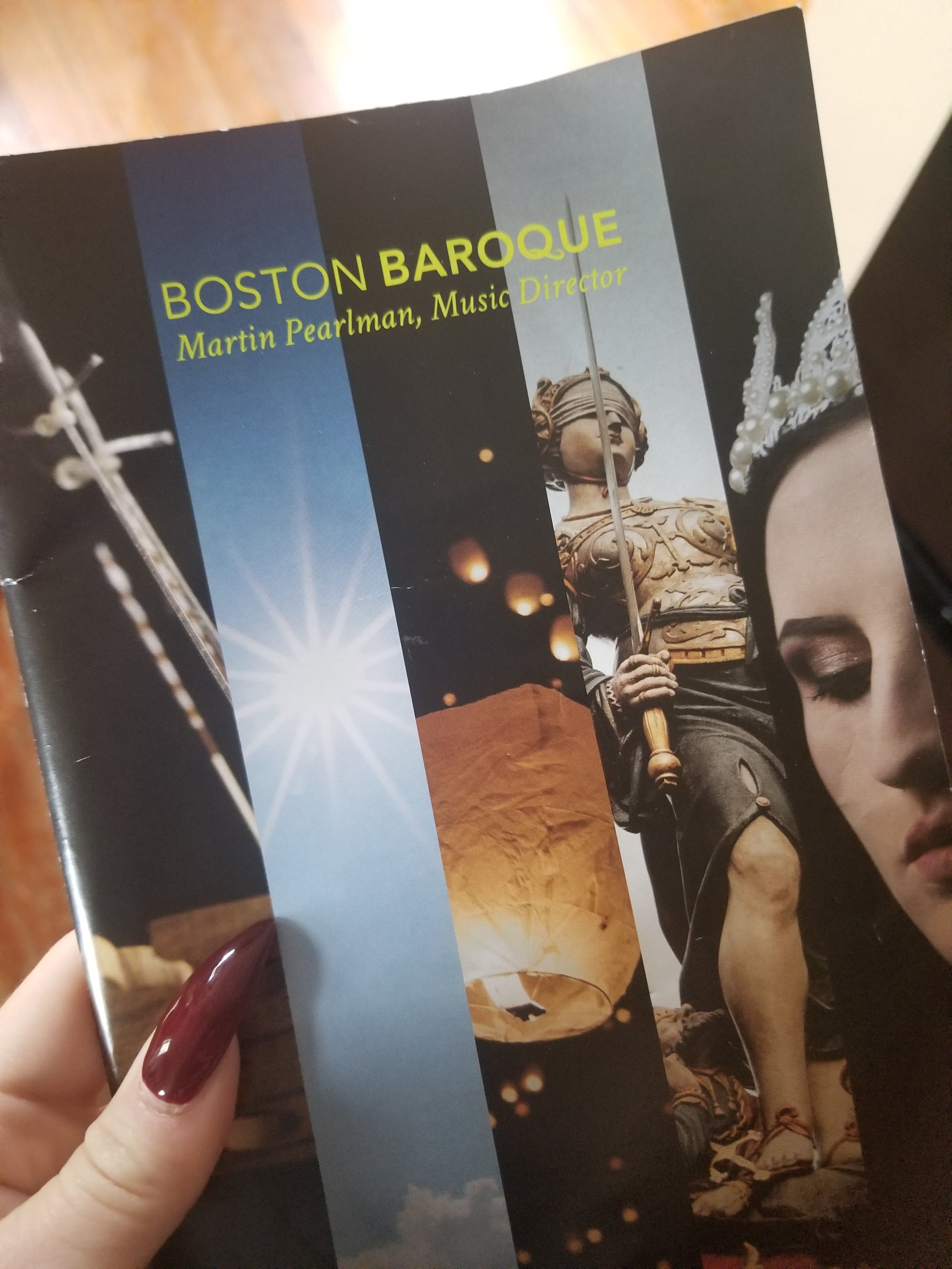 The Boston Baroque program with talon provided by Me.