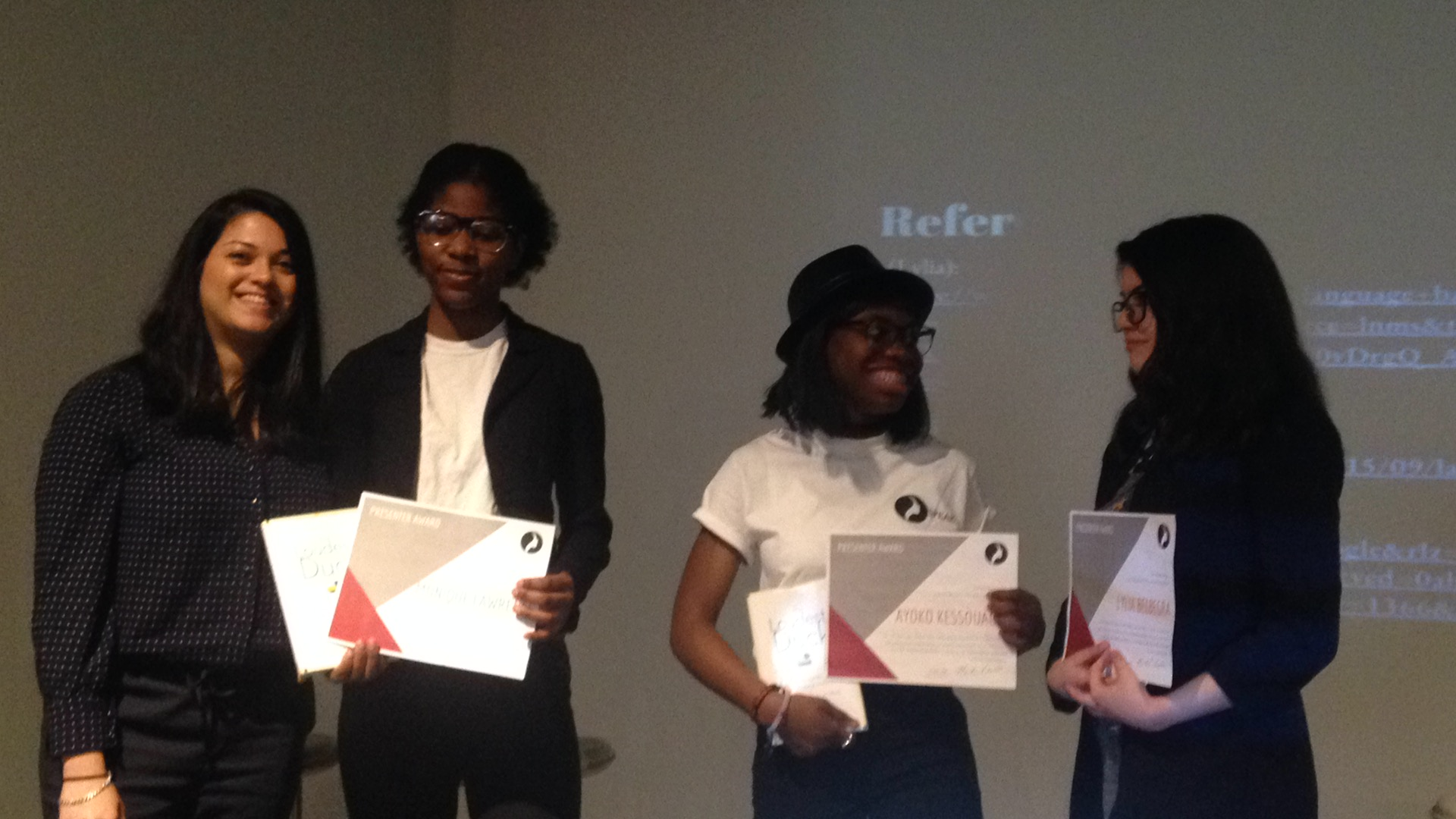 Student presenters received recognition for presenting their immigrant stories and experiences as girls of color.