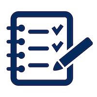 Navy blue icon of a checklist.png