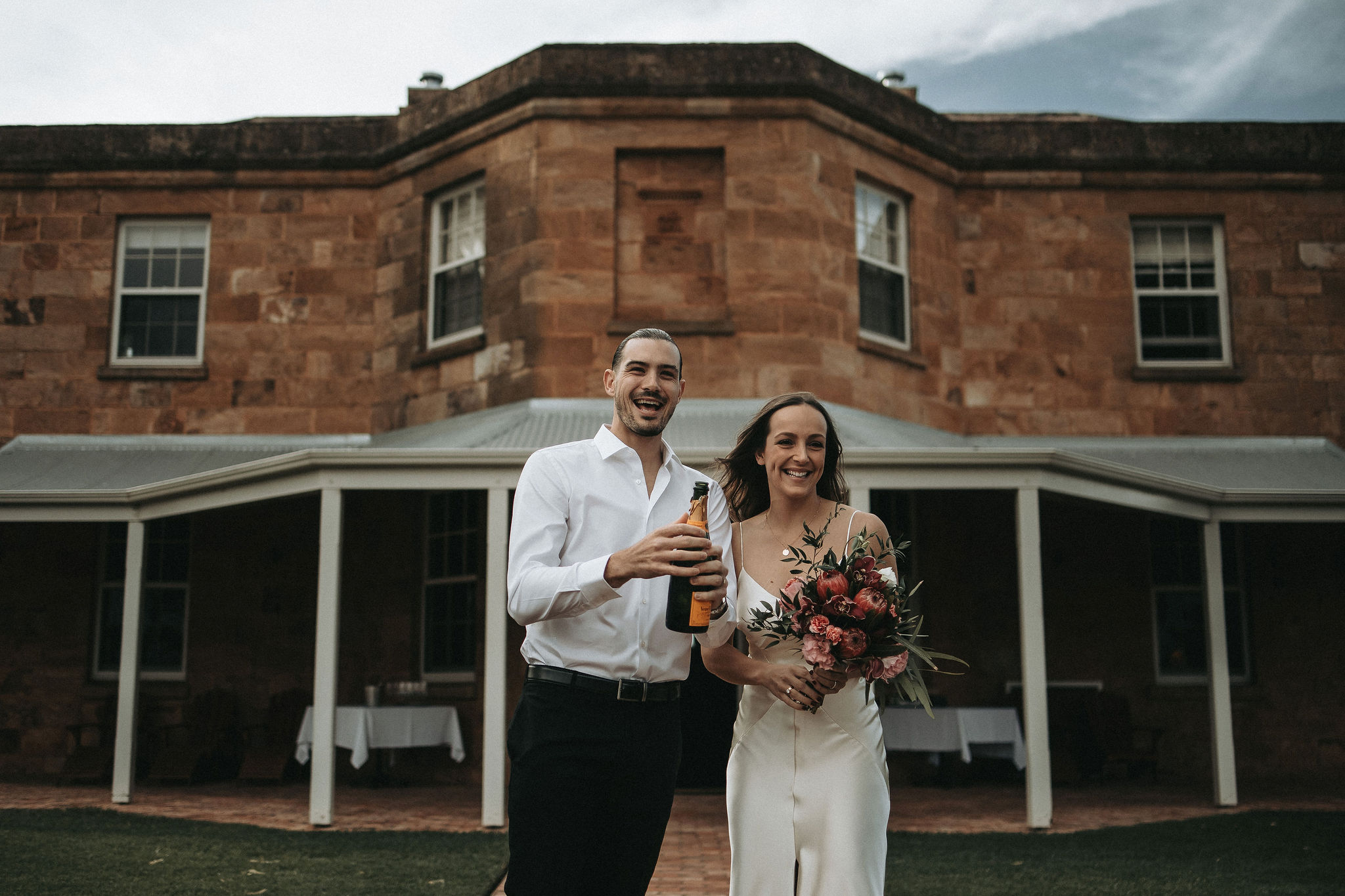 Molly & Chris    Venue: Kingsford Homestead, South Australia   Molly & Chris celebrated their marriage at a special tiny ceremony with their immediate families.   Molly wanted natives included in her bouquet to compliment the venues surroundings, and little baby''s breath crowns for her nieces.