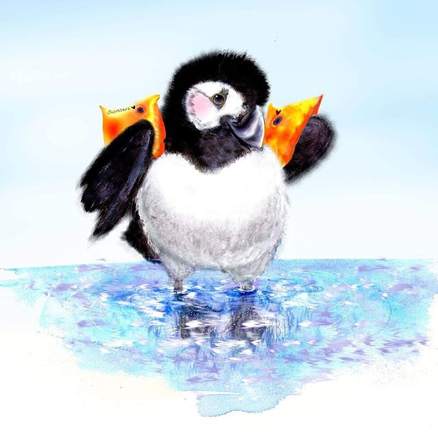 Introducing our second new design, Paddlin' Puffling! 🌊 This little cutie pays homeage to our very first ever puffin, Paddlin' Puffin, the puffin pal that started it all! This little cutie isn't quiet as brave as his older counterpart though and has to use armbands for safety 😁 . . . . . . . . . . . . #paddling #puffling #puffin #puffinart #puffinillo #puffinillustration #babypuffin #pufflingart #puffinisland #anglesey #beaumaris #angleseyart #angleseyartist #angleseygram #findyourepic #doitfortheprocess #instaart #puffinprints #dailydoseofcolor #illustration #agameoftones #watercolour #gouache #puffinpainting #atlanticpuffin #watercolor #watercolourillo #gouacheillo #watercolourpuffin #northwalesart
