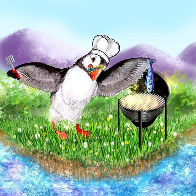 Last but definitely not least... it's a BBQ BOY! This is BBQin' Puffin, cooking himself a fish supper with a picturesque mountainous backdrop 💕 if only I lived somewhere as beautiful... oh wait! 😏 Feeling extra smug now that it's warming up that I'm lucky enough to live in such a beautiful place 💕 ☀️where's your fave Anglesey spot? I'm always looking to explore and currently spend most of my time in Beaumaris and Penmon! Let me know all of your favourite places to enjoy Anglesey - bonus points if it's in a forest or near the sea 🌊😁 . . . . . . . . .  #bbq #snowdonia #snowdoniamountains #beaumaris #anglesey #photooftheday #instagood #creativepreneur #angleseygram #findyourepic #doitfortheprocess #instaart #puffinprints #illustration #dailydoseofcolor #puffin #angleseyart #watercolour #gouache #puffinpainting #puffinart #puffinillustration #atlanticpuffin #gouacheillo #watercolourpuffin #welshartist #northwalesart #visitbeaumaris #visitanglesey #stylegram