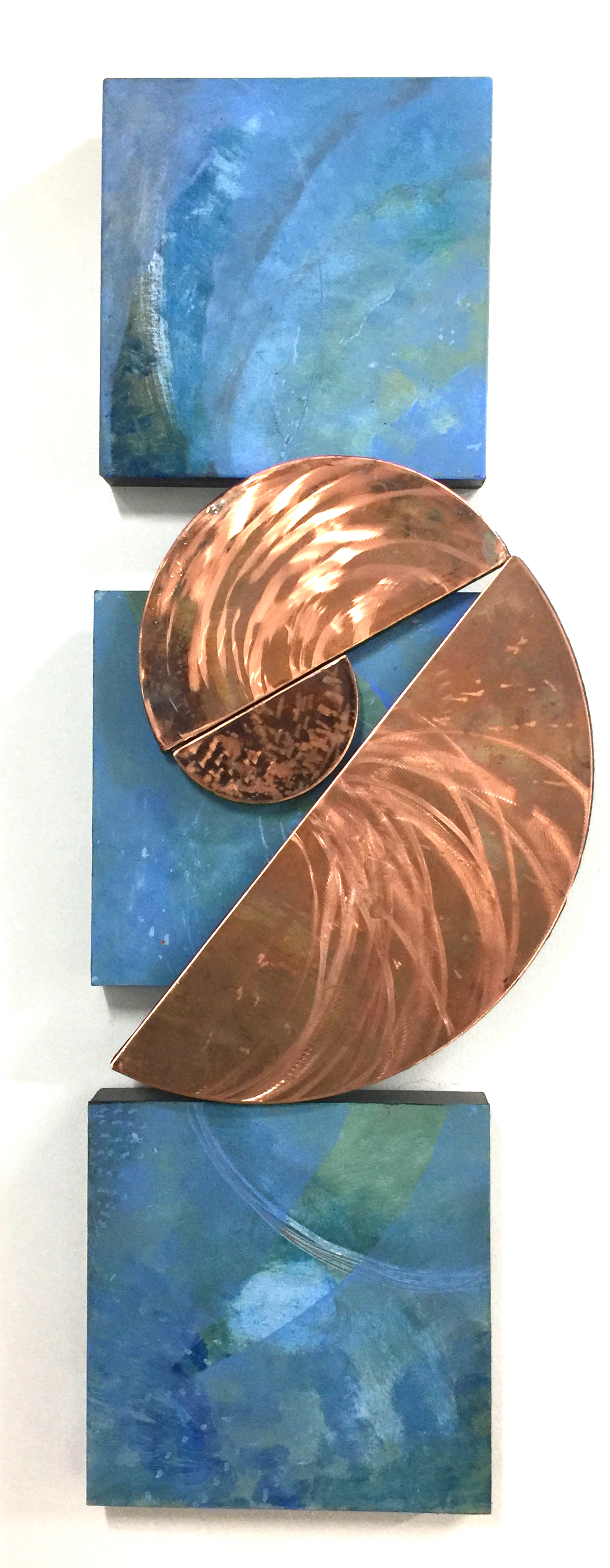 Tide 44x15 in.; 112x38 cm.; 4 pieces; mixed media, anodized copper; 2017