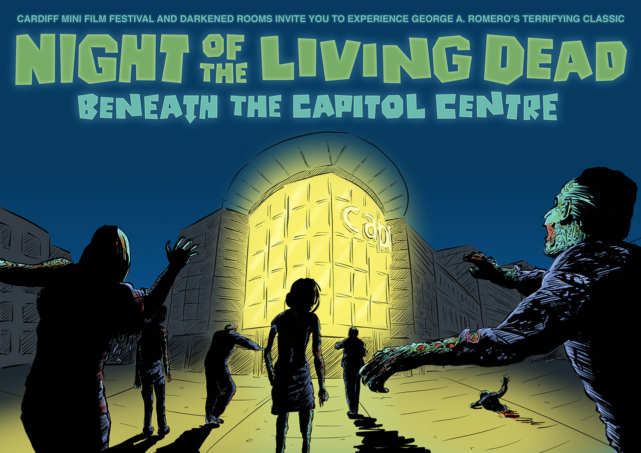 At 10pm on Saturday 23rd June 2018 we're screening …  NIGHT OF THE LIVING DEAD BENEATH THE CAPITOL CENTRE   … as part of the Cardiff Mini Film Festival and the BFI's  Uprising: Spirit Of 68  season.   Book your tickets  here.   Artwork by  Croatoan Design.