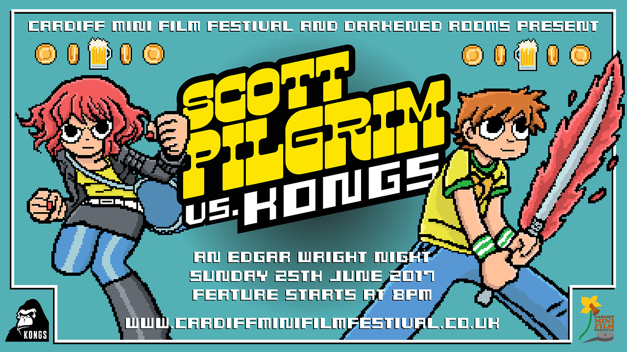 SCOTT PILGRIM VS. THE WORLD  A special screening for the  Cardiff Mini Film Festival  at  Kongs .  The film's free for Cardiff festival pass holders or £4 a ticket otherwise ( book here ).  Poster by  Croatoan Design .