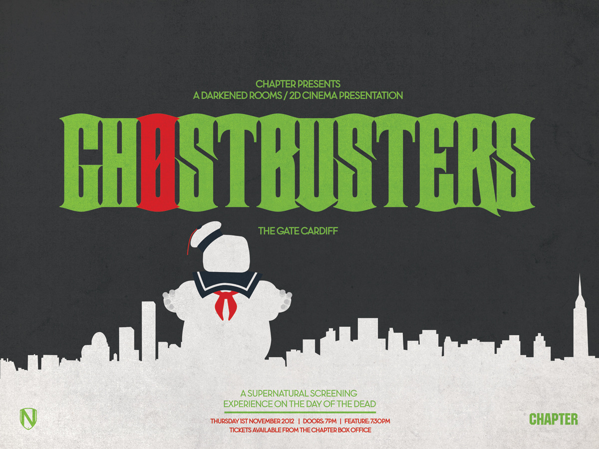 GHOSTBUSTERS at THE GATE   Thursday 1st November 2012 ( The Day Of The Dead )   Doors / programme: 7pm ~ Feature: 7:30pm   Tickets available from  http://www.chapter.org/28469.html    Poster by  Matt Needle