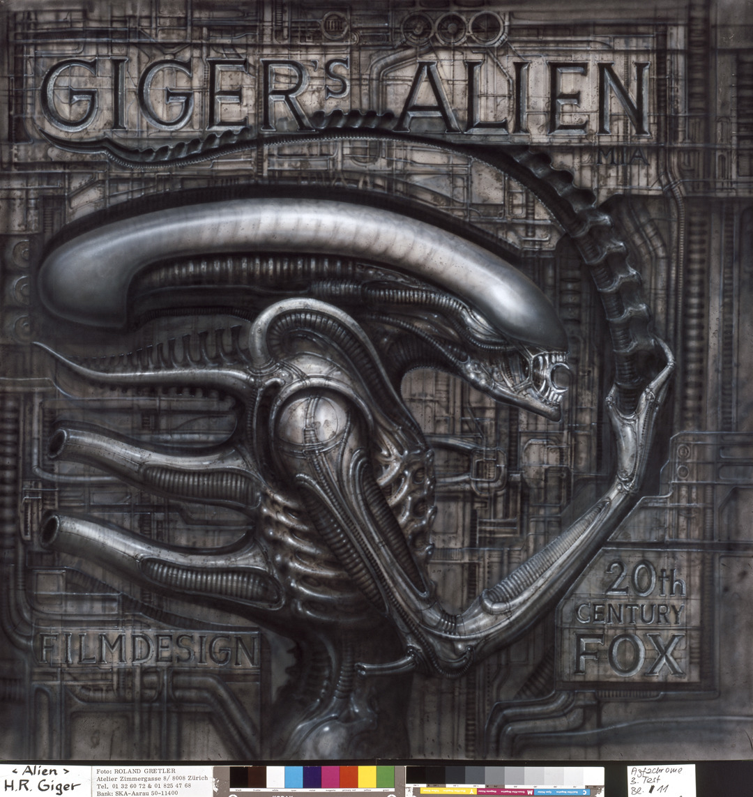 All the paintings, drawings and sculptures H.R. Giger created for ALIEN and ALIEN3 are on permanent display at the  H.R. Giger Museum  in Gruyeres, Switzerland. The Darkened Rooms team are very grateful for the museum's support of our Alien screenings.