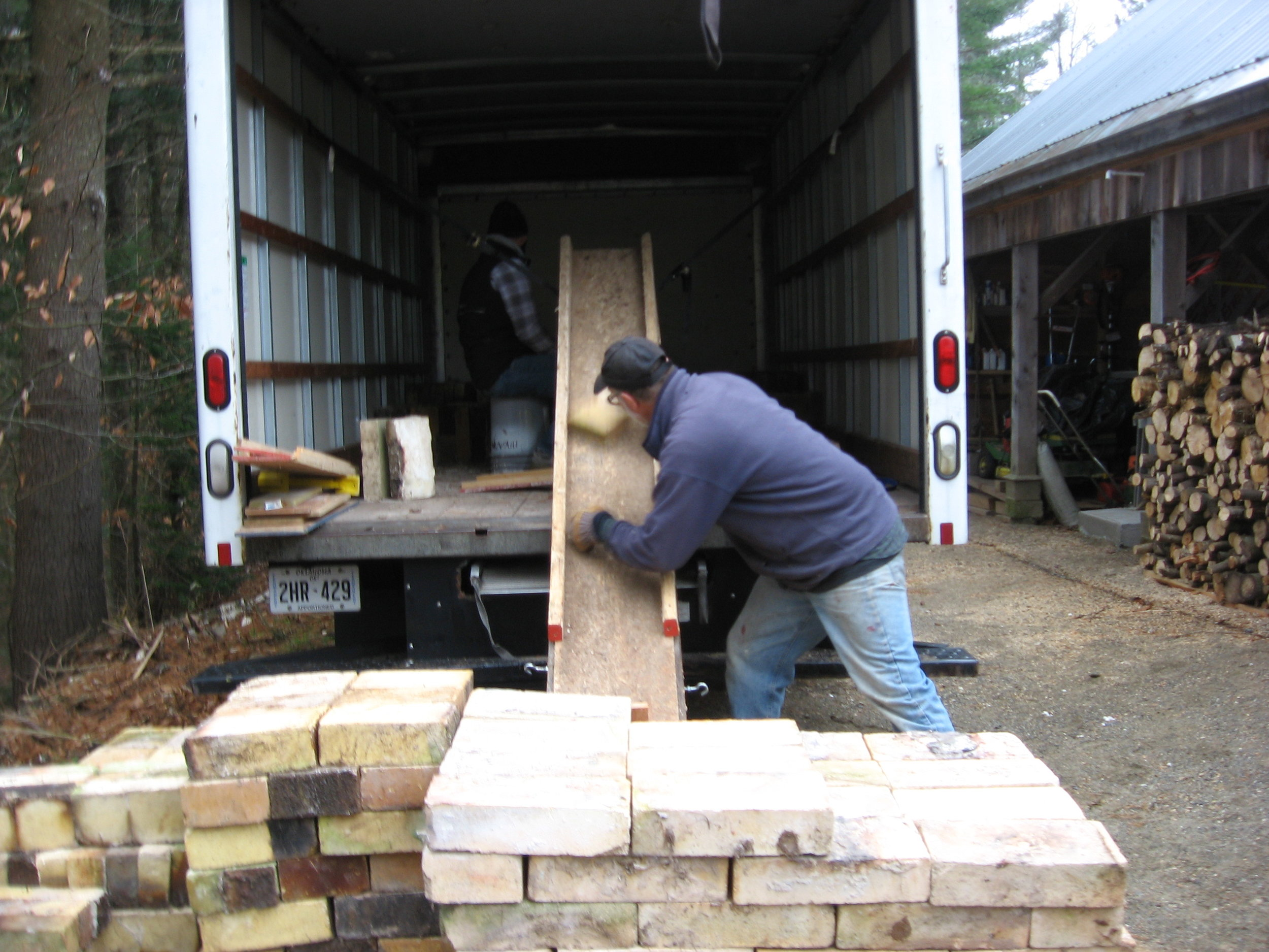 Unloading the bricks back home in Vermont.