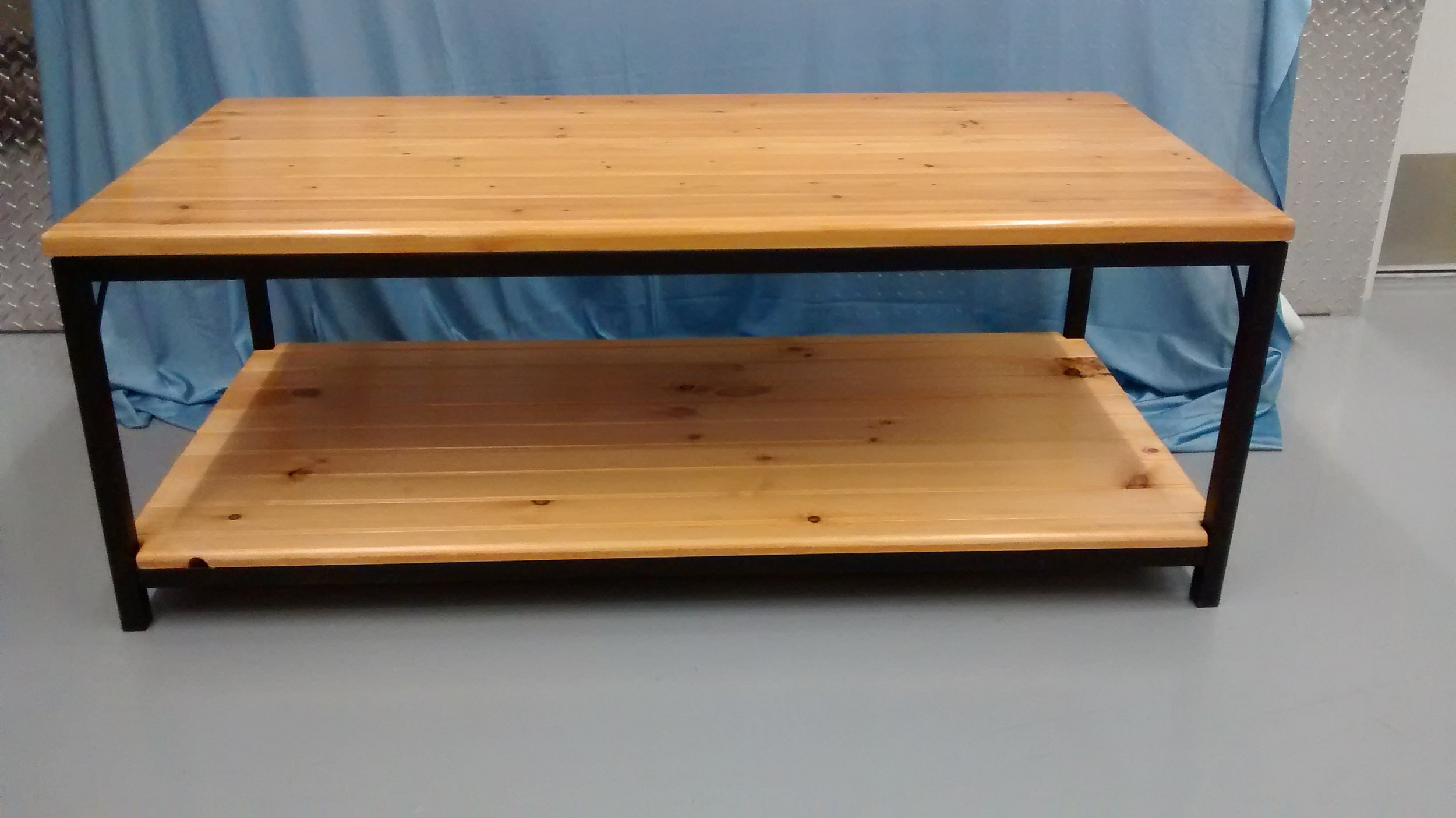 Coffee Table with Refinished Wood Top and New Lower Shelf with Square Steel Tube Frame and Legs