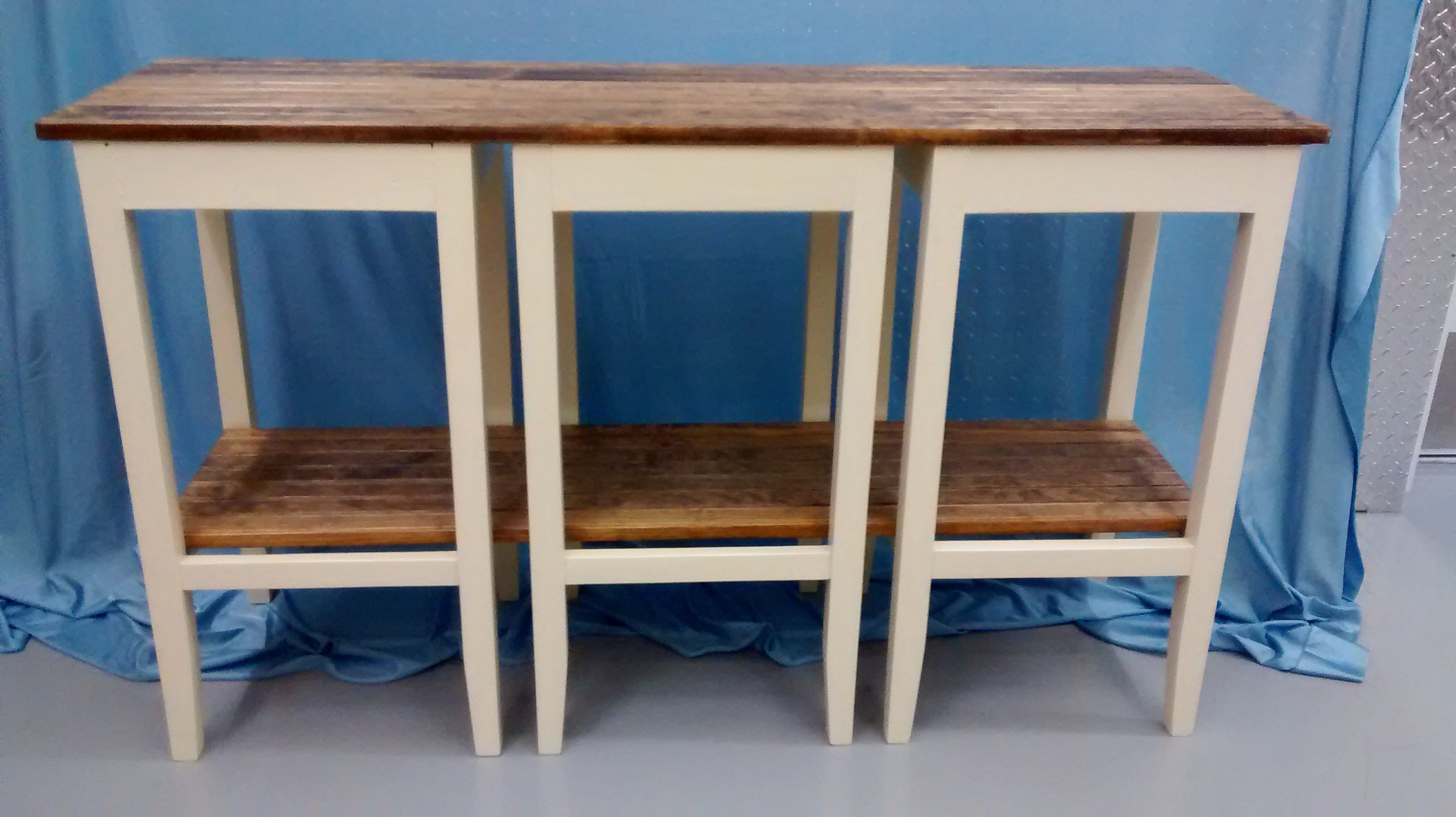 Console or Side Table Made from Three Wooden Bar Stools