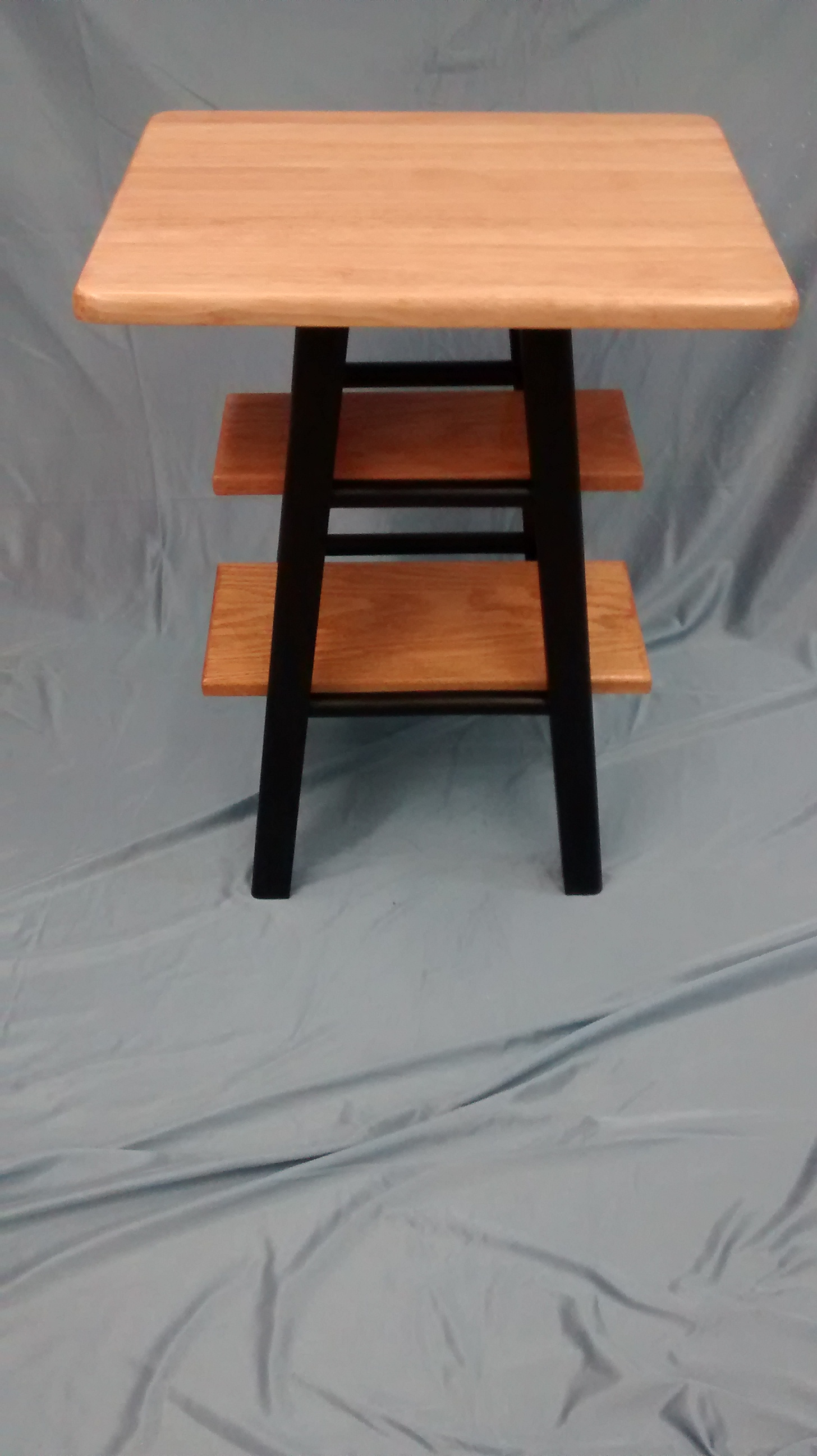End or Side Table Made from One Wooden Bar Stool and Reclaimed Wood