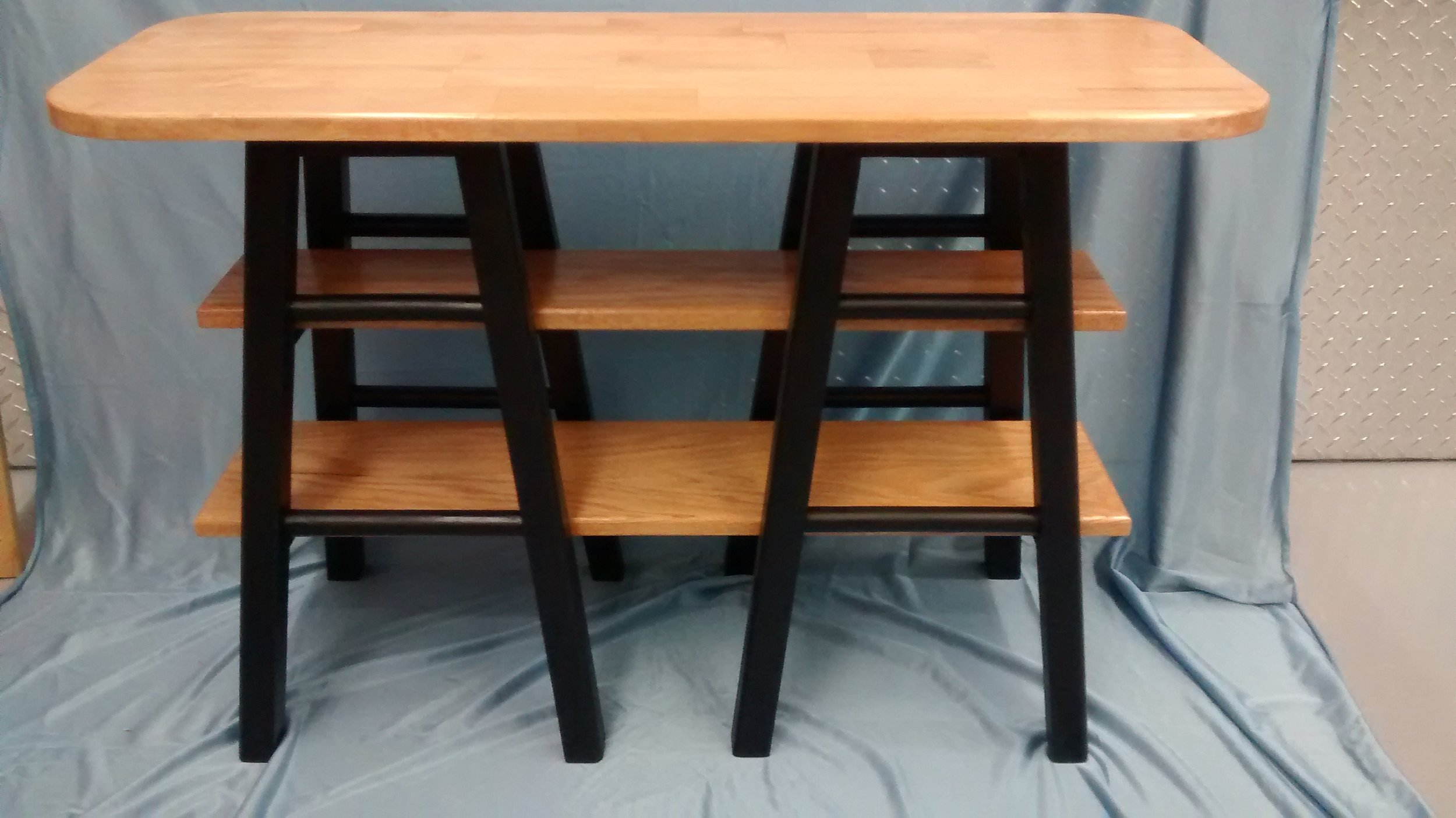 End or Side Table Made from Two Wooden Bar Stools and Reclaimed Wood