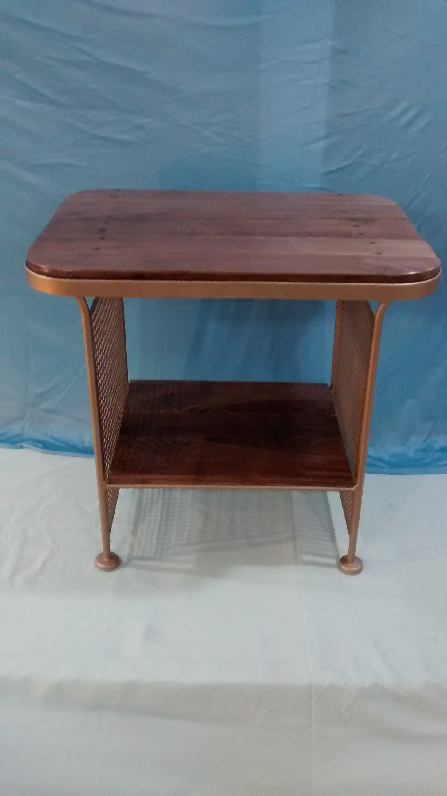 Metal Frame End Table with Reclaimed Wood Top and Shelf
