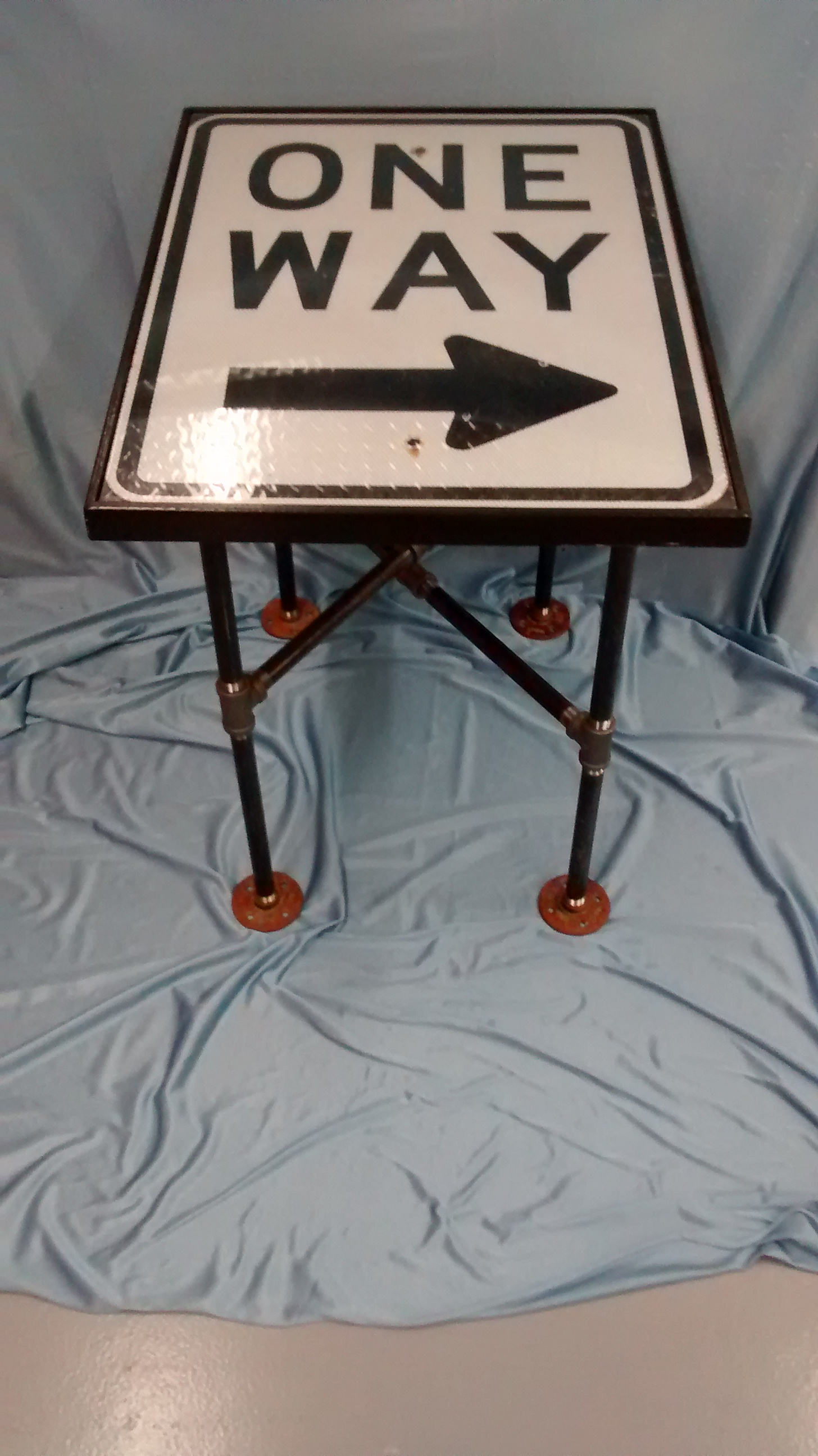 One Way Road Sign End Table with Black Pipe Legs