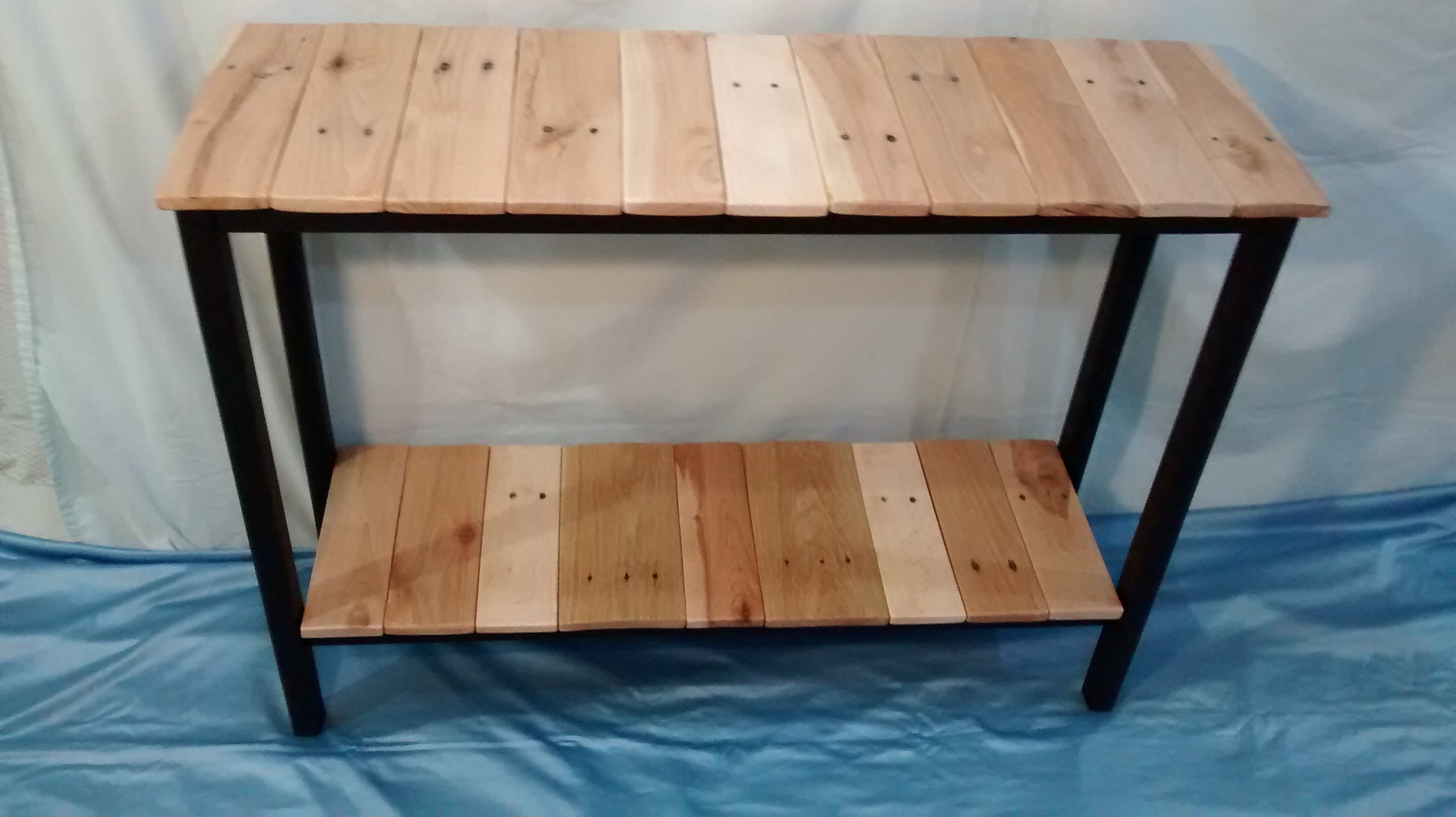 Side Table with Two Reclaimed Wood Shelves