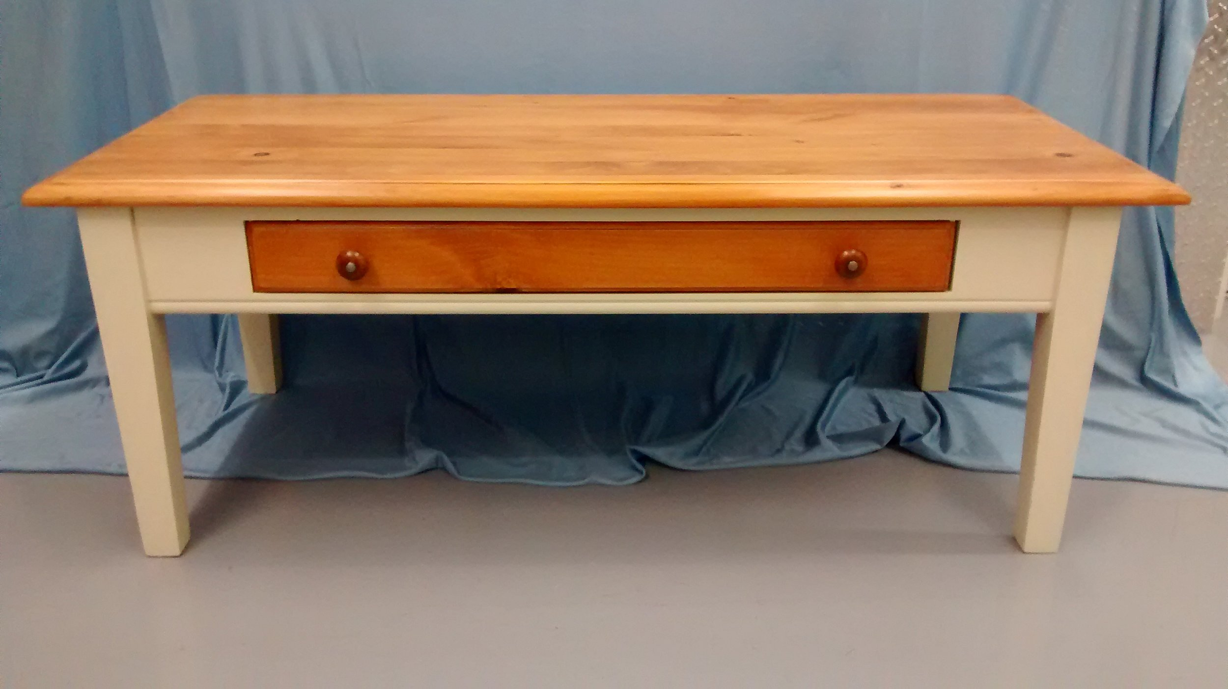 Wooden Coffee Table with Drawer and Painted Legs