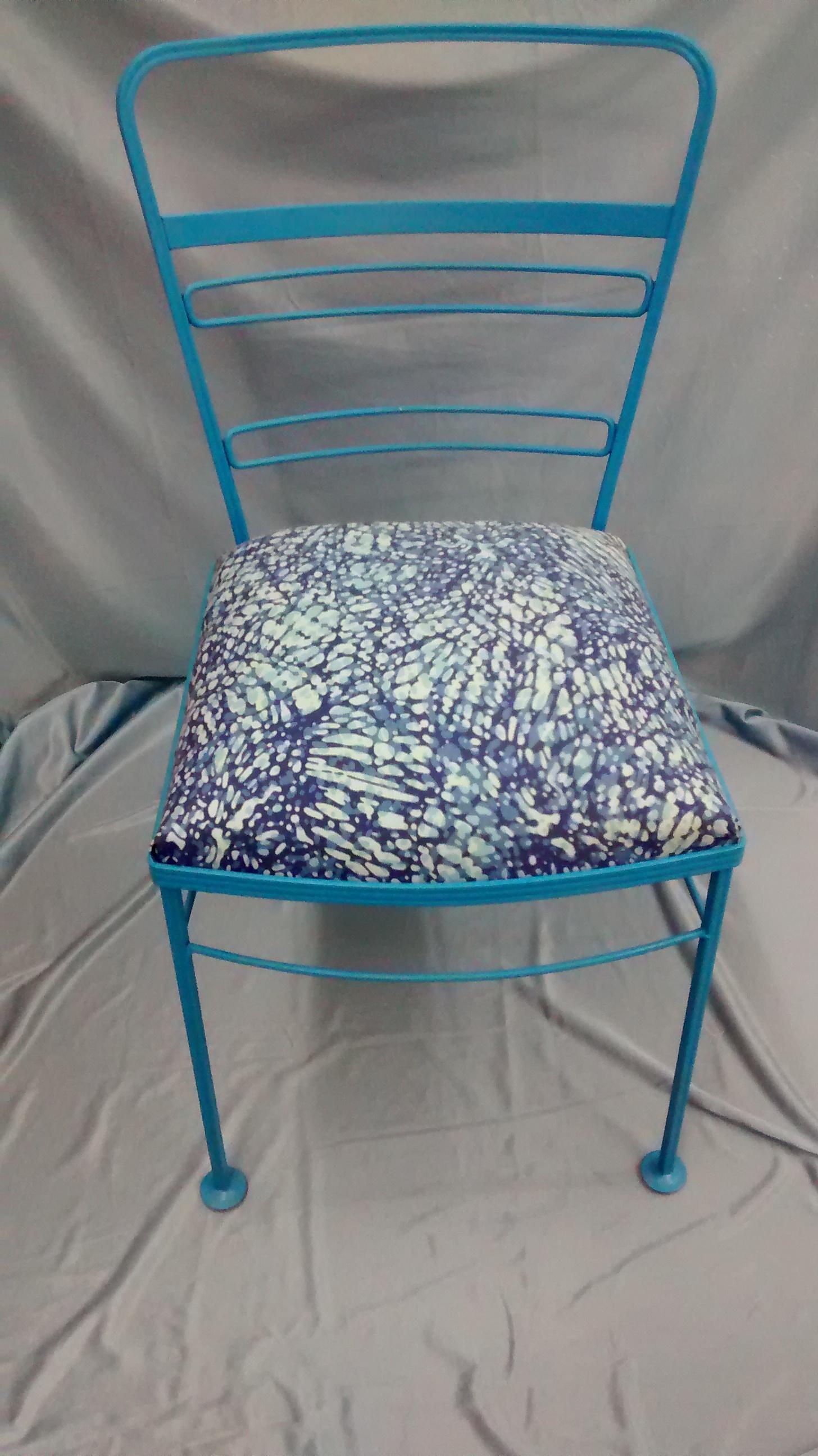 Aqua Blue Metal Chair with New Comfy Cushion