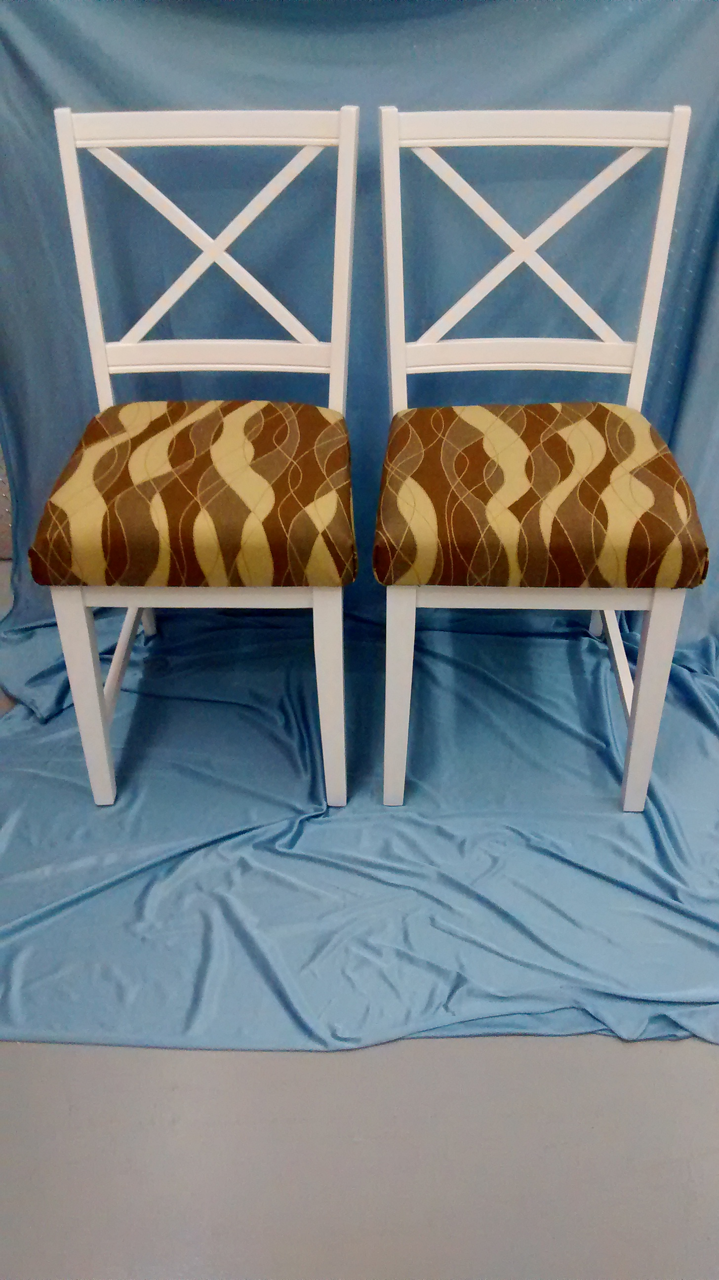 Pair of Wooden Chairs with New Comfy Cushions