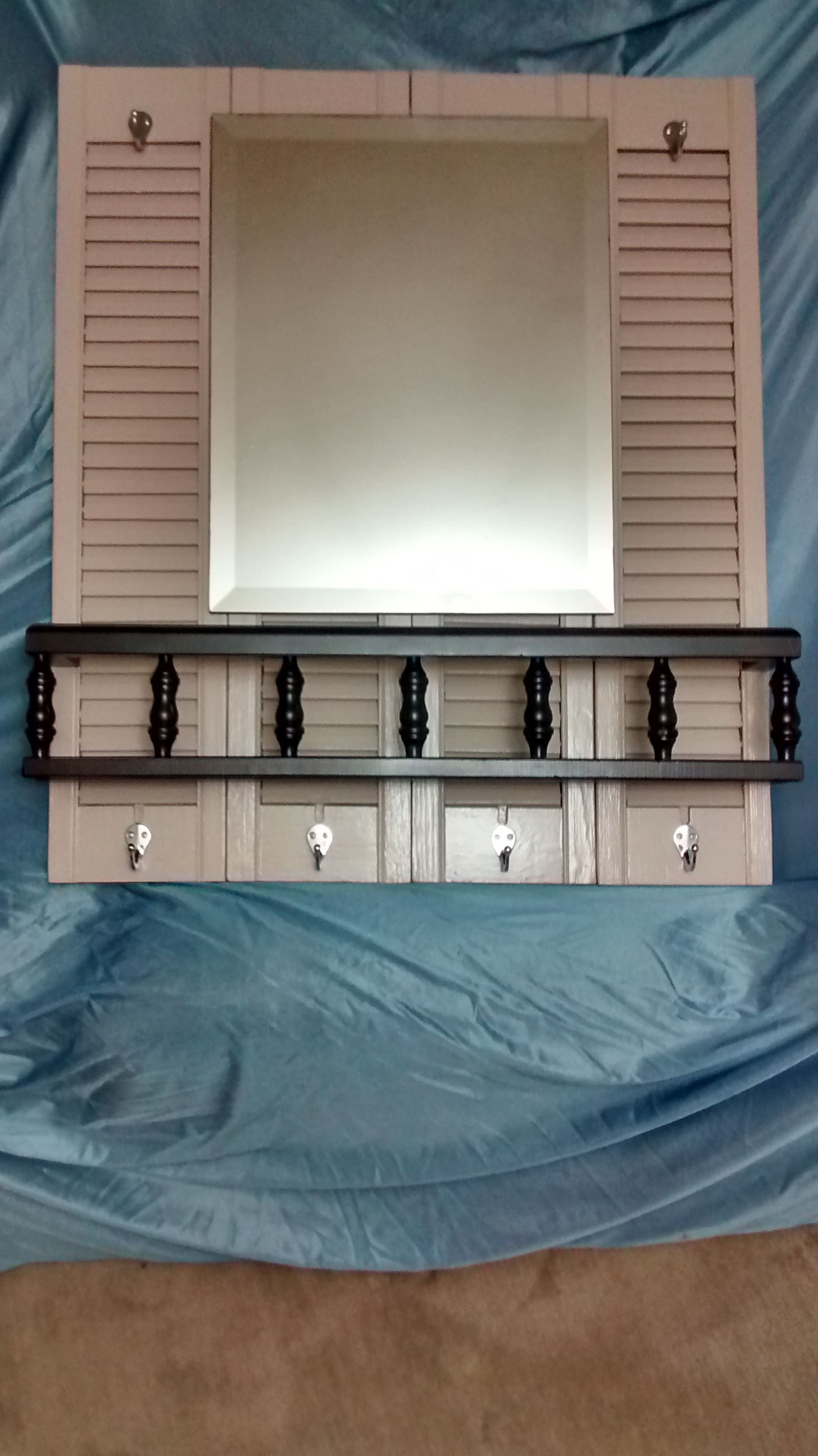 Mirror, Shelf and Hooks on Reclaimed Shutters