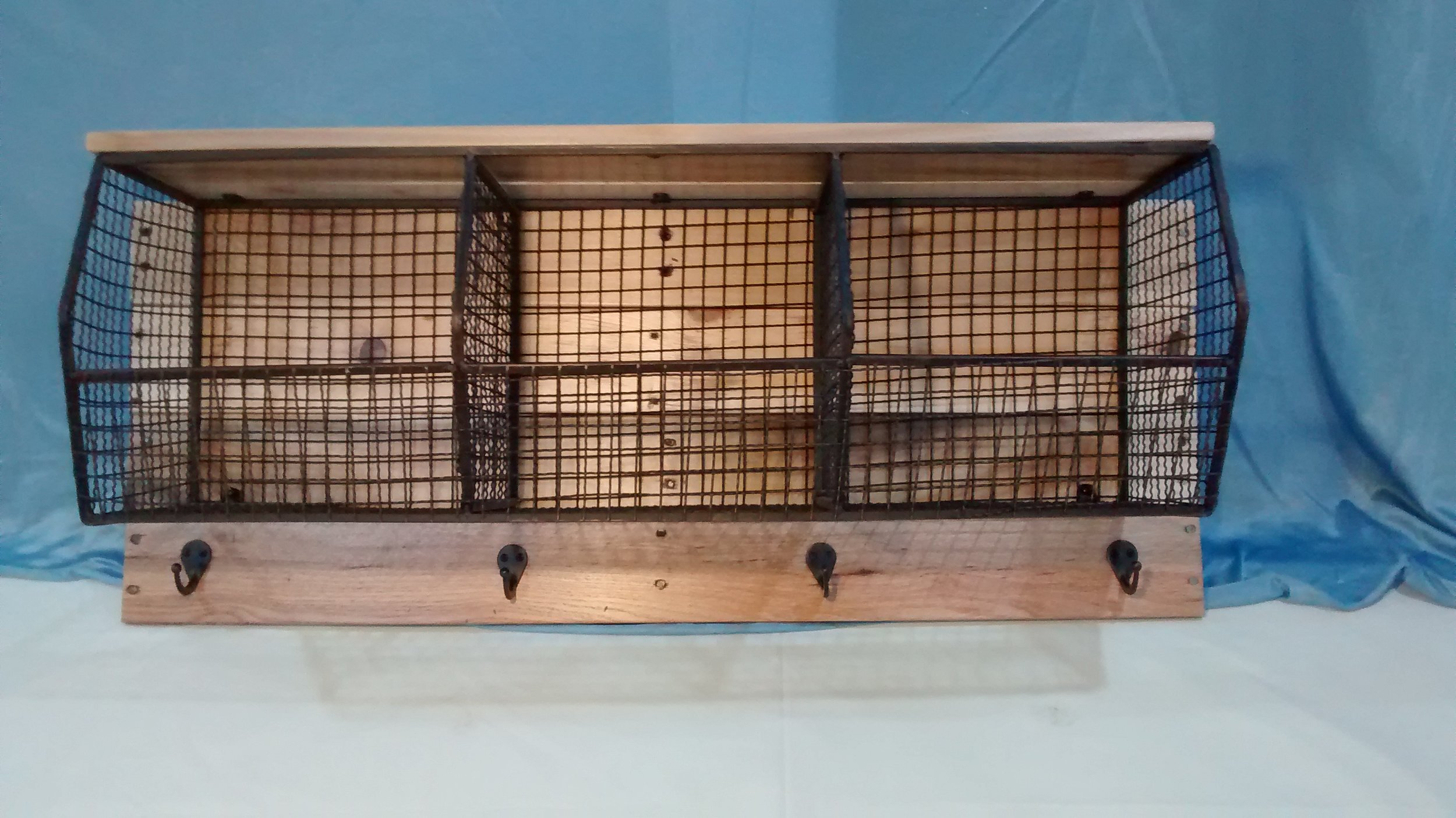 Black Wire Storage Bins and Hooks with Reclaimed Wood Back and Top