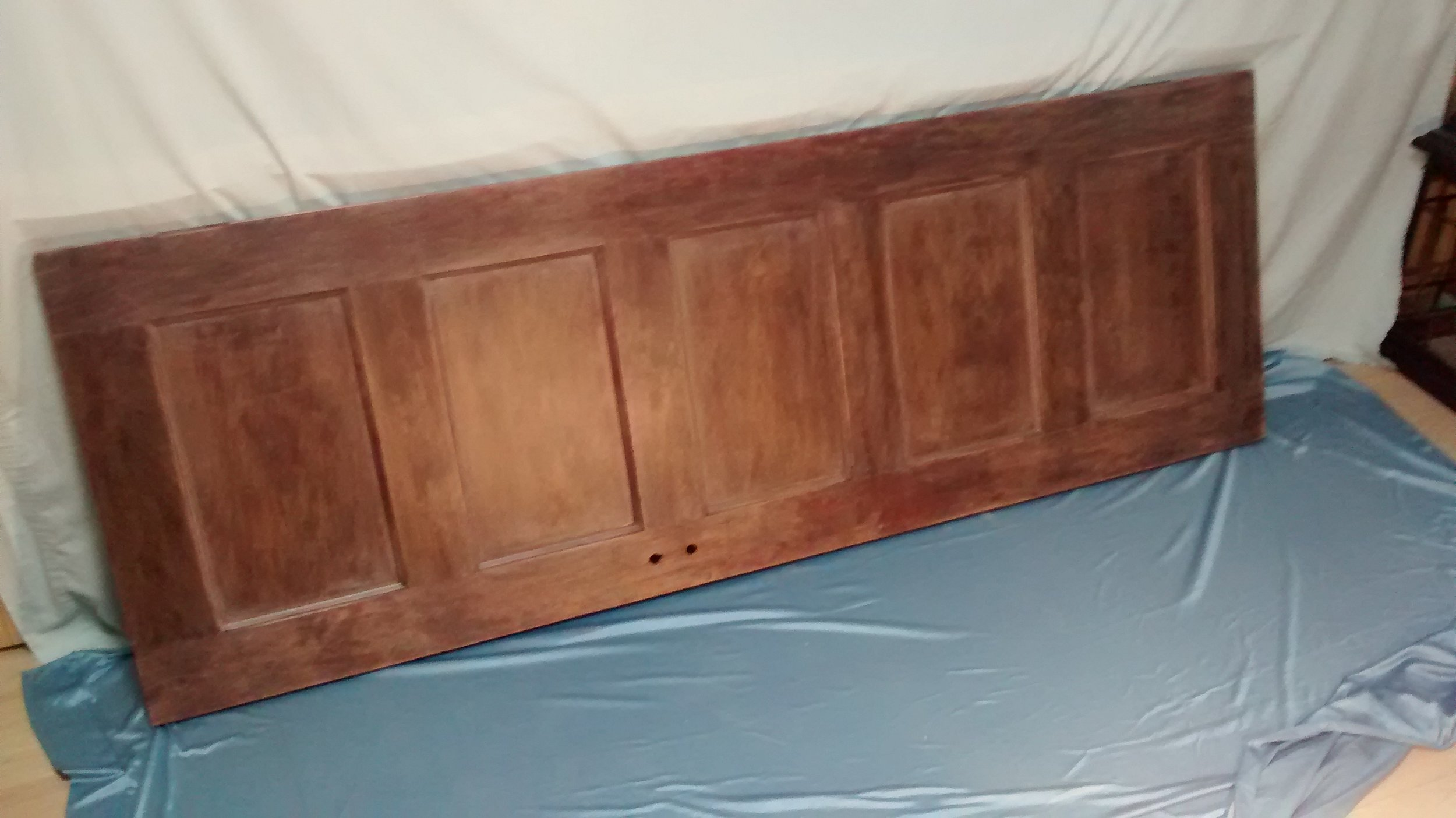 Wall-Mounted Headboard from Reclaimed Old Five-Panel Door