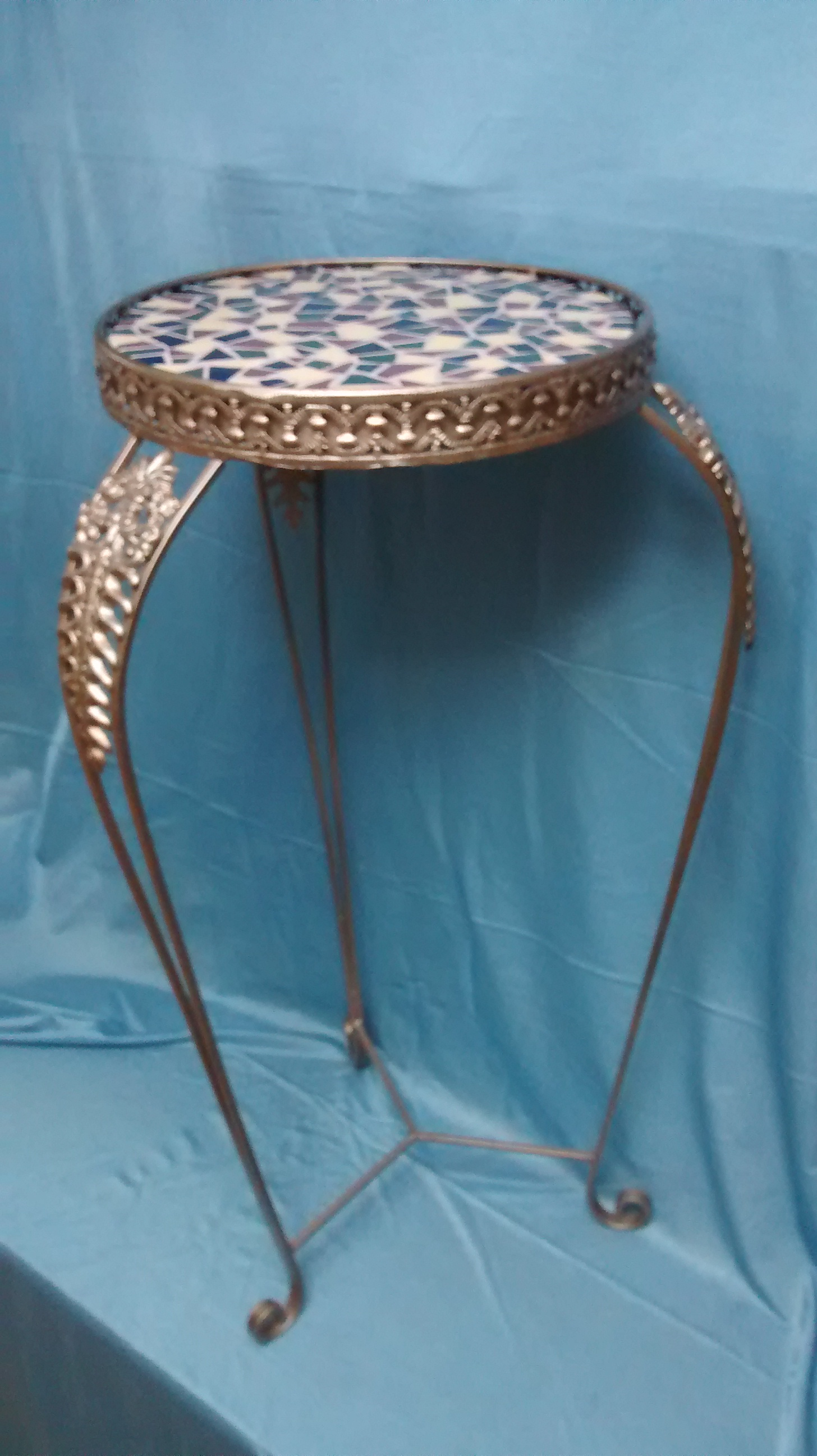 Metal Plant Stand with Colorful Mosaic Top