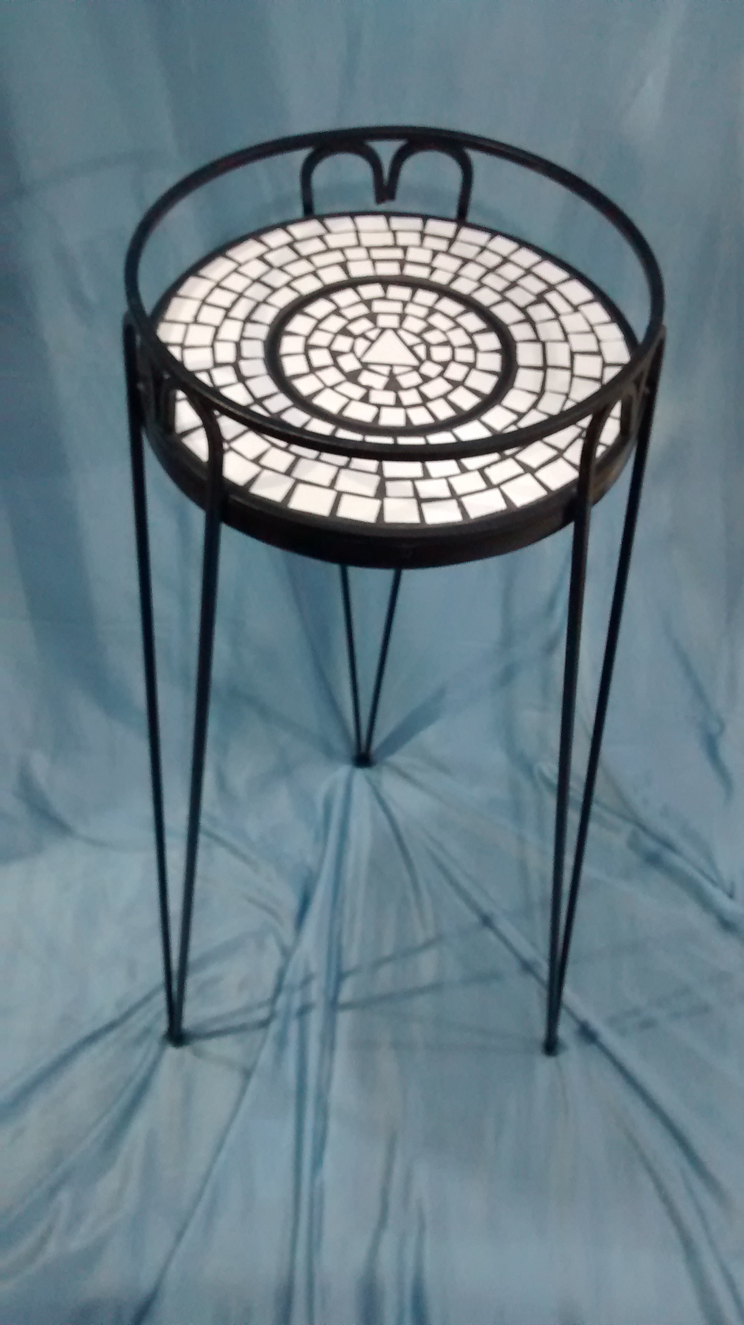 Black Metal Plant Stand with White Mosaic Top