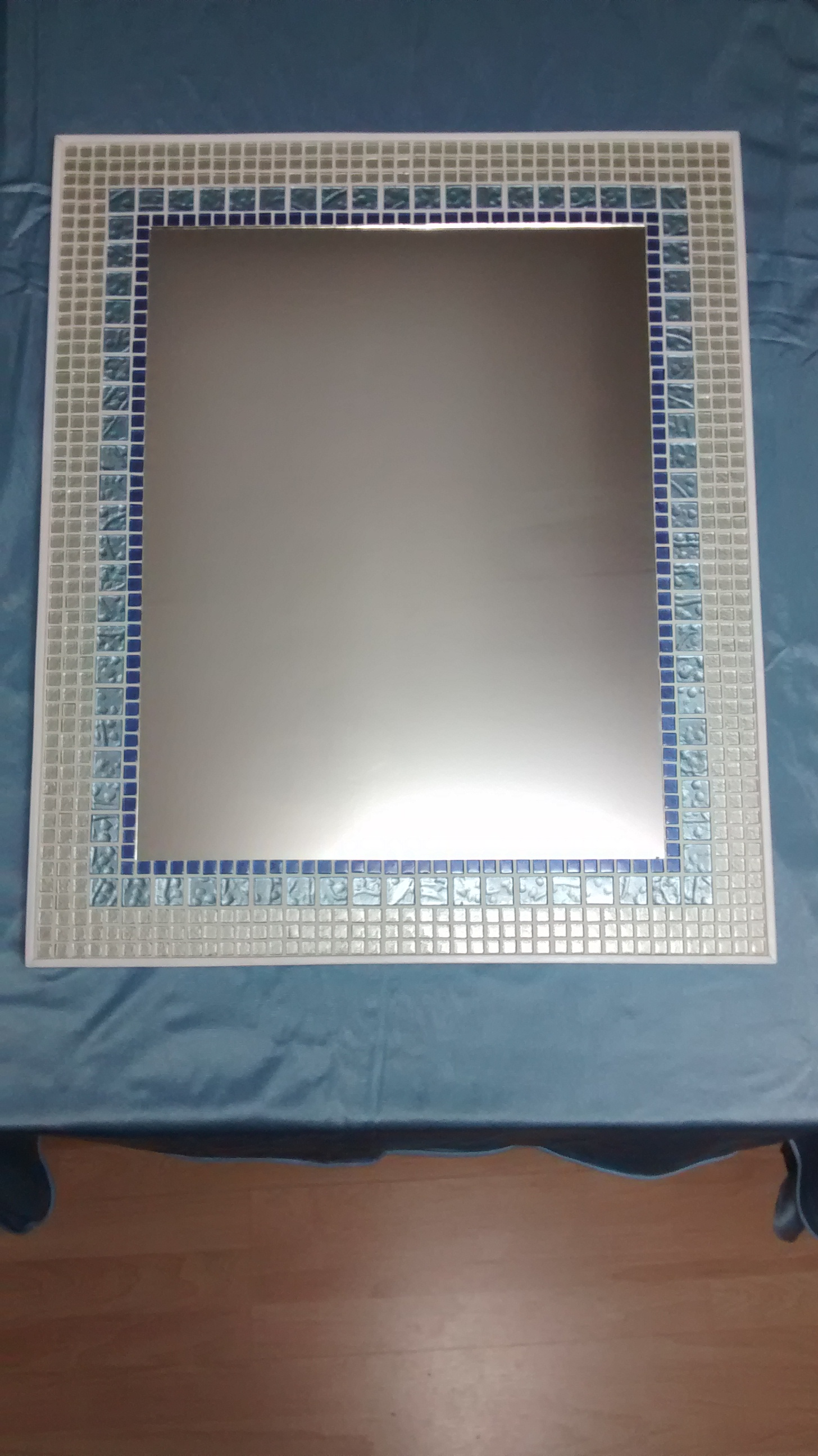 Rectangular Mirror with Glass Mosaic Tile Frame