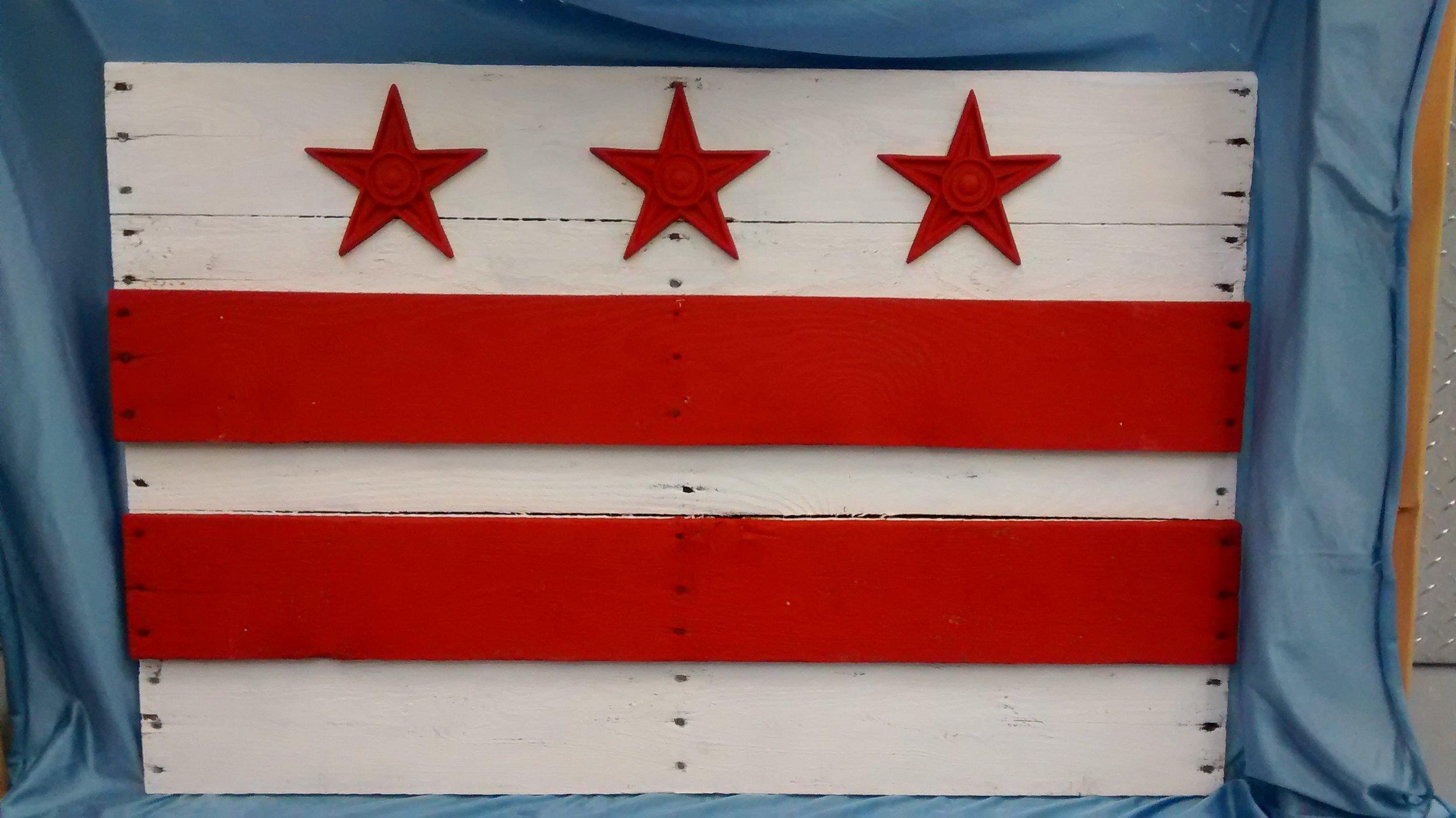 Large Painted D.C. Flag