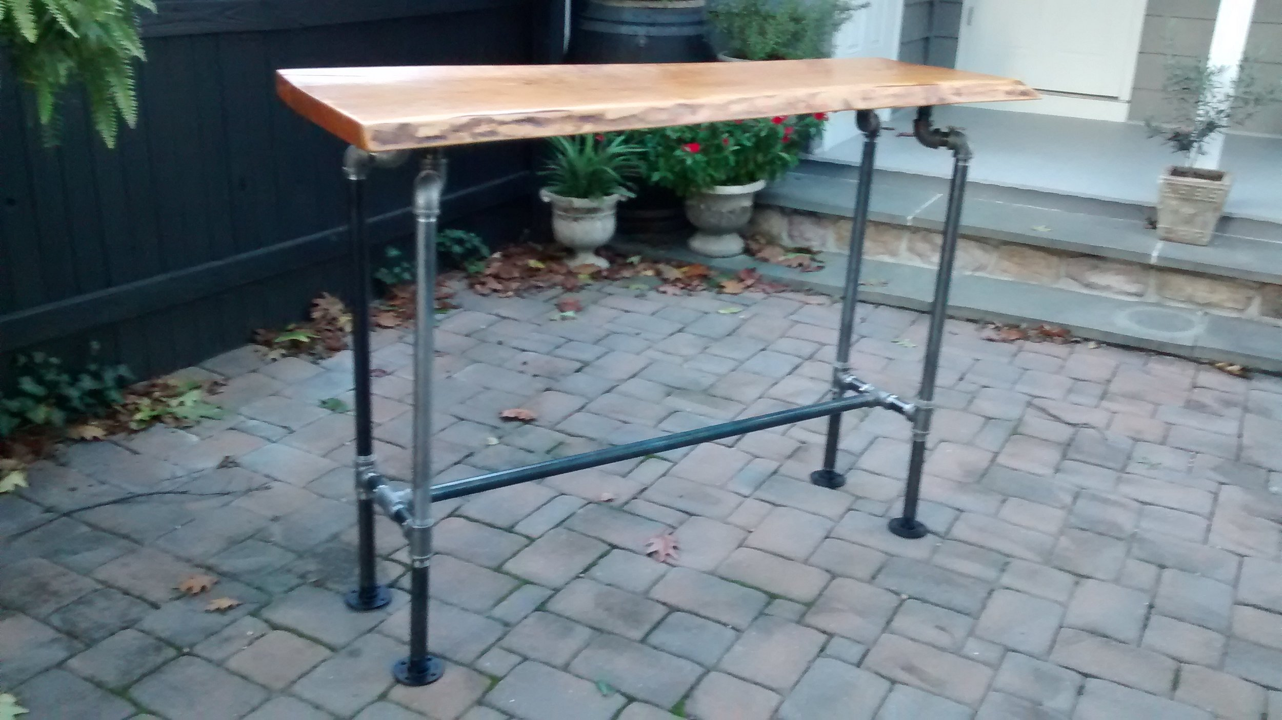 Live-Edge Wood Bar with Black Pipe Legs #2