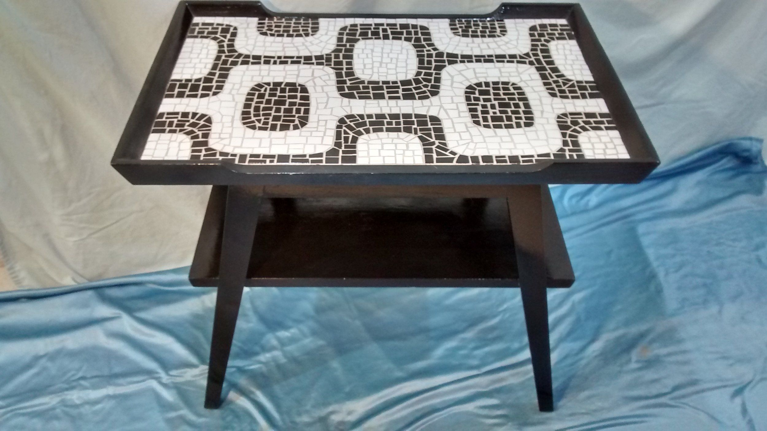 Mid-Century End Table with Ipanema Sidewalk Mosaic Top