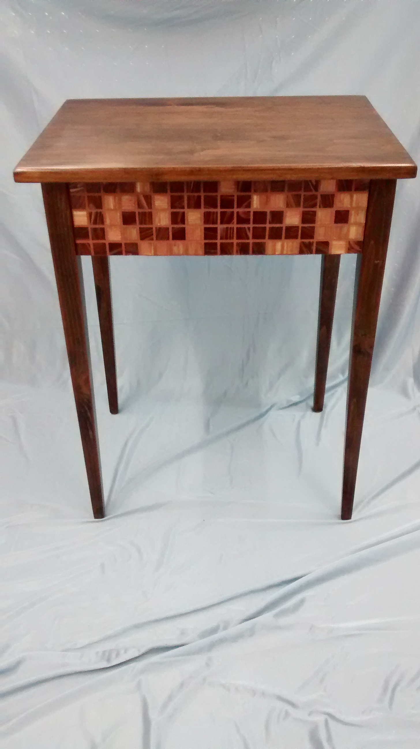 Wooden End Table with Mosaic Tile Rails